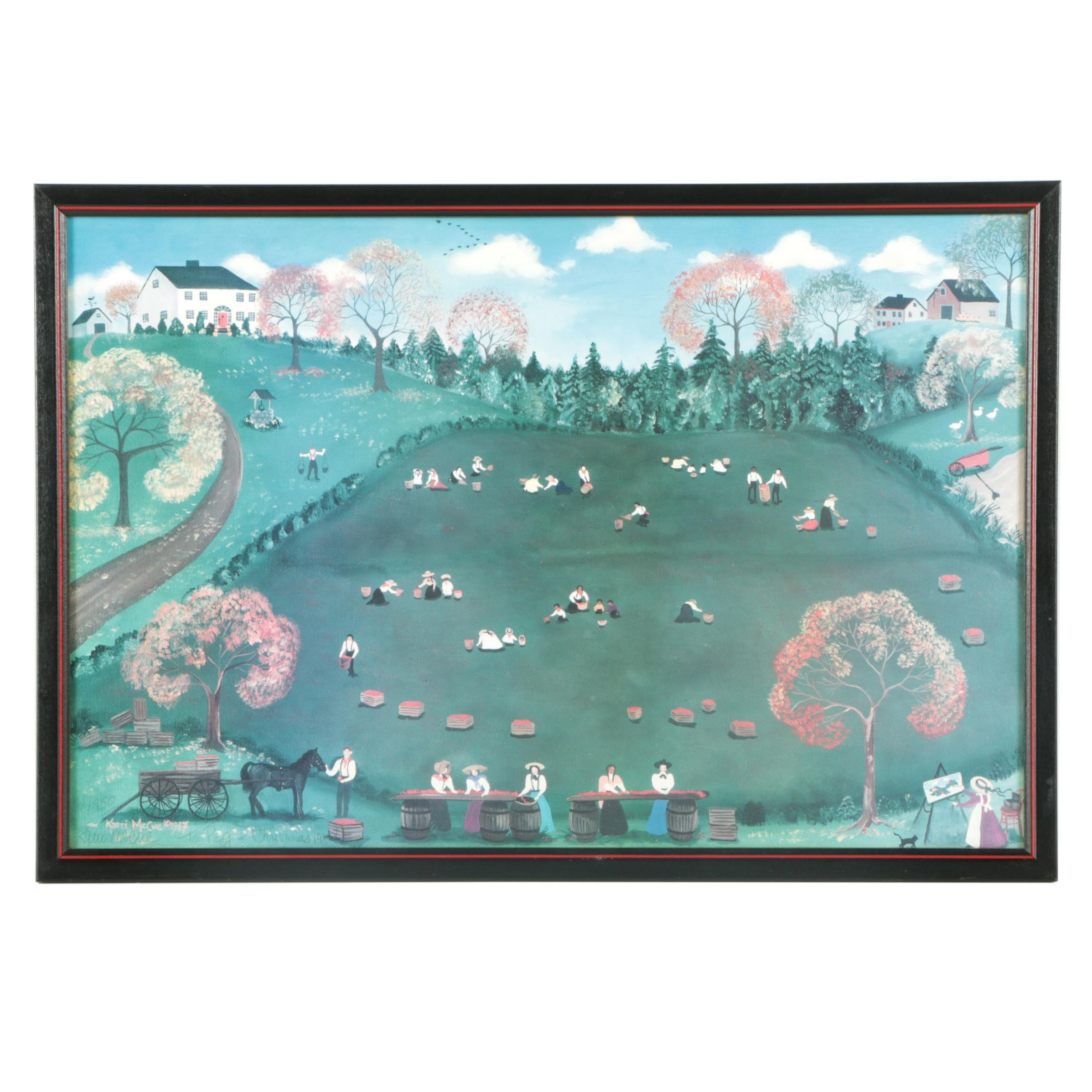 Karri McCue Limited Edition Offset Lithograph of Field Scene