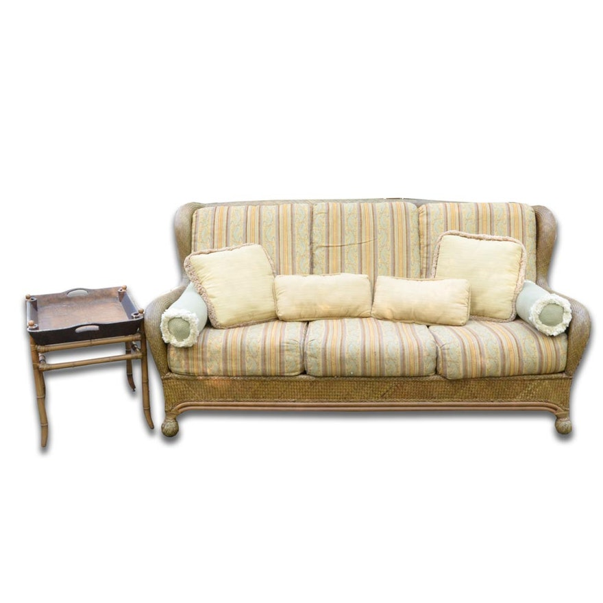 Summer Classics All Weather Wicker Sofa With Bamboo Motif Tray Style Side Table Ebth