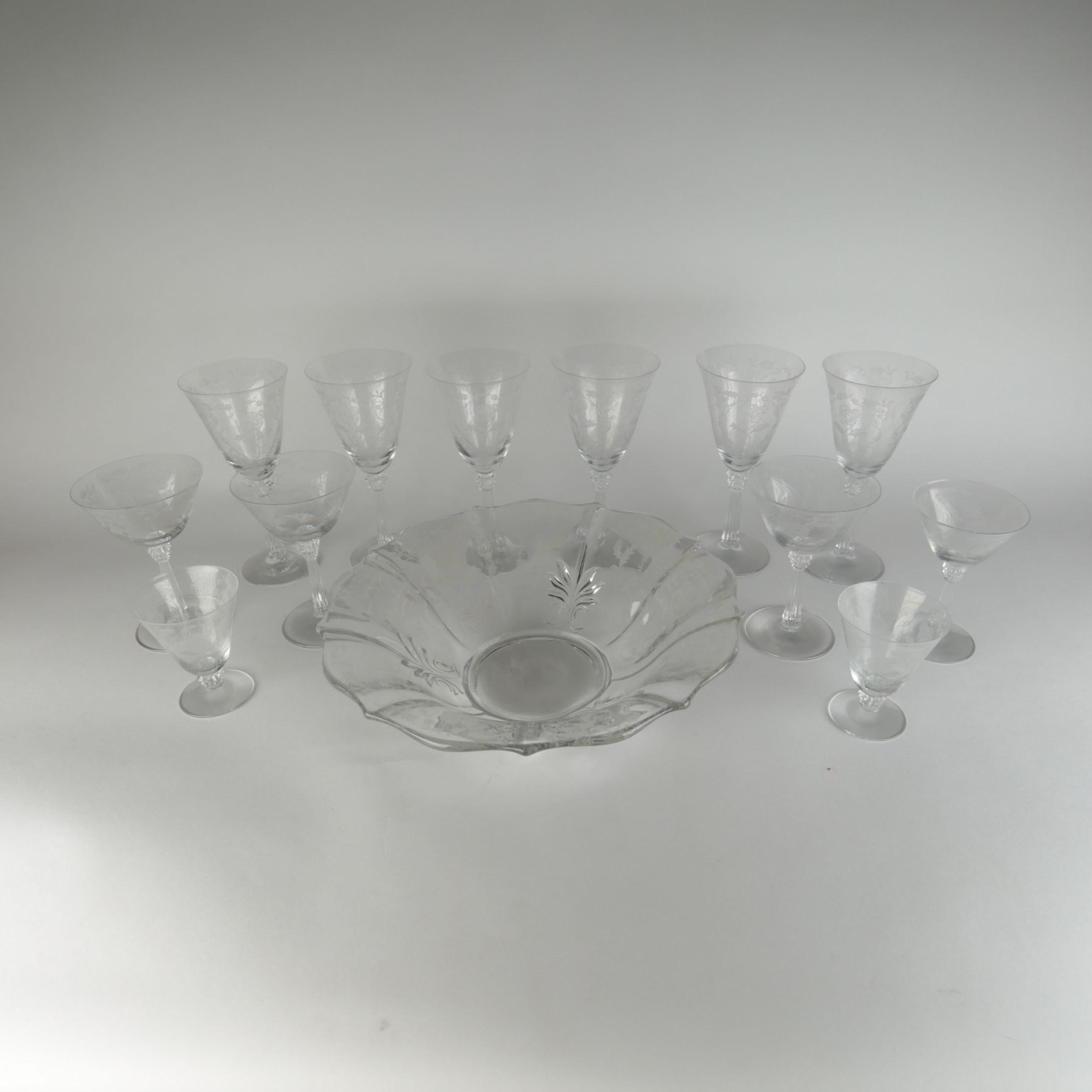 Vintage Etched Floral Glassware