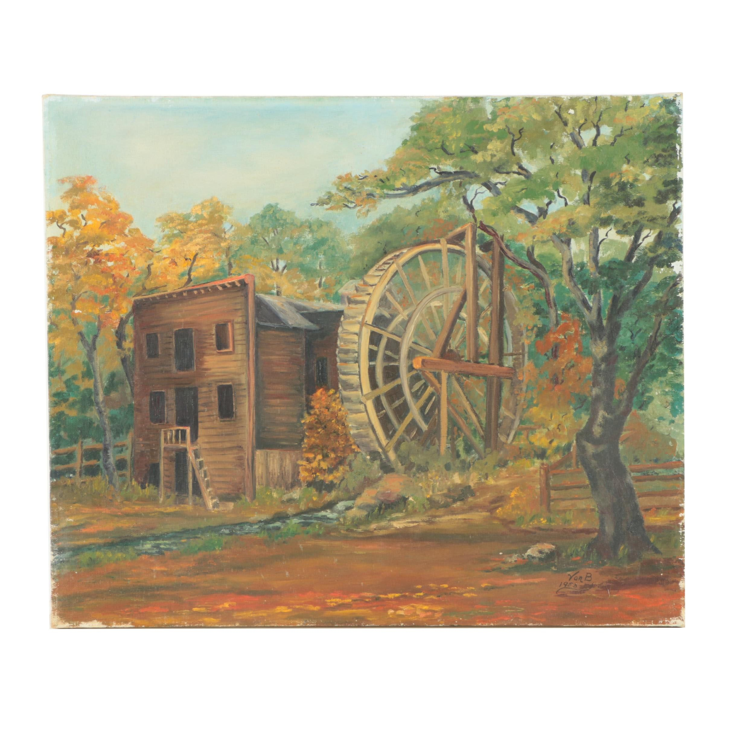 Von B Oil on Canvas Painting of a Water Mill