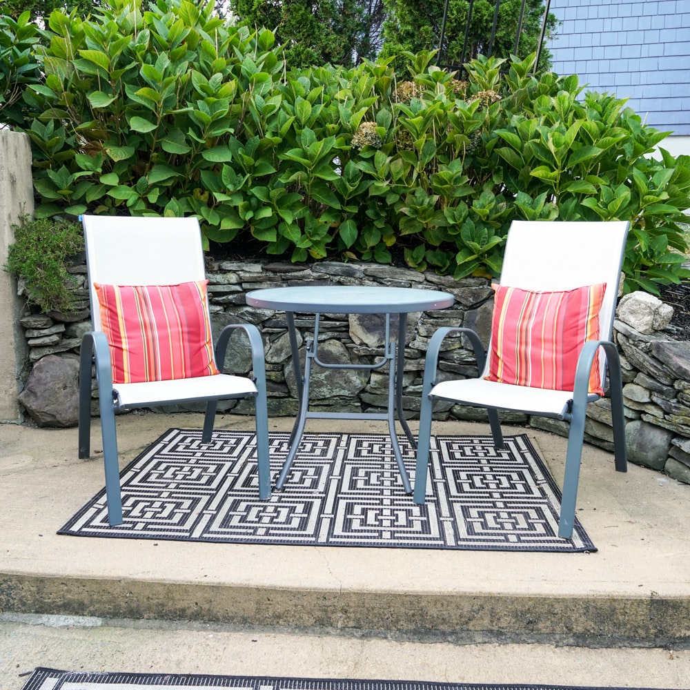 Room Essentials Sling Patio Chairs with Glass Top Table