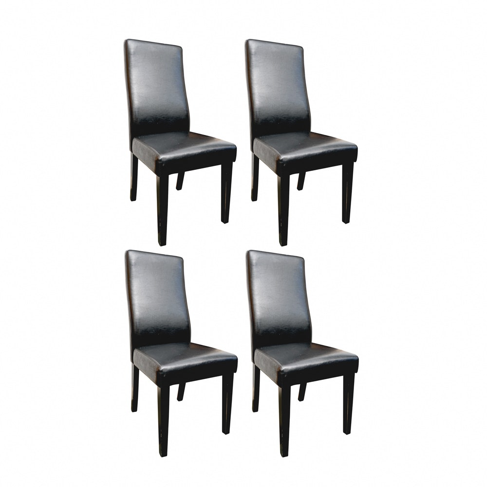 Four Faux Leather Parsons Chairs