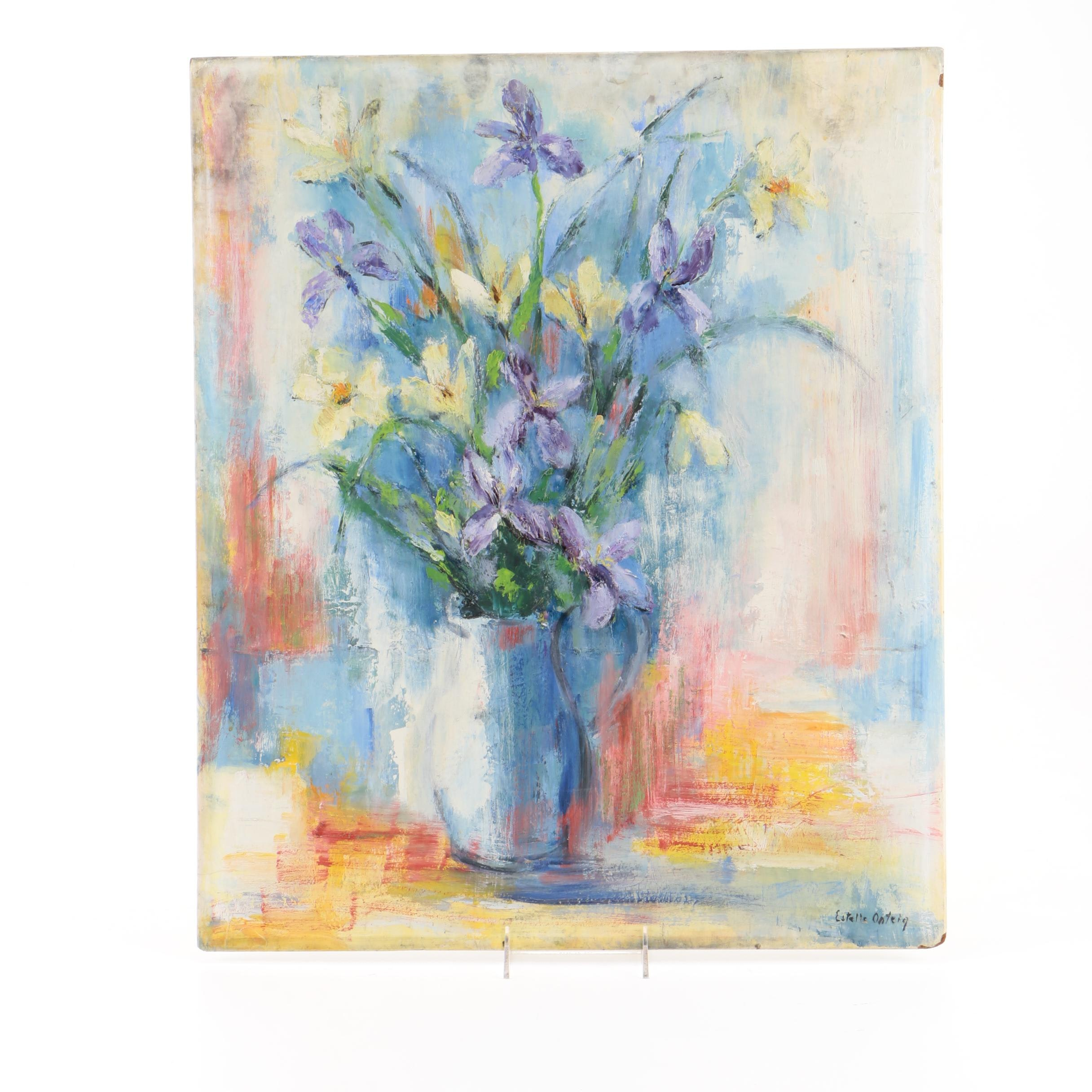 Estelle Onteig Oil Painting on Board of a Floral Still Life