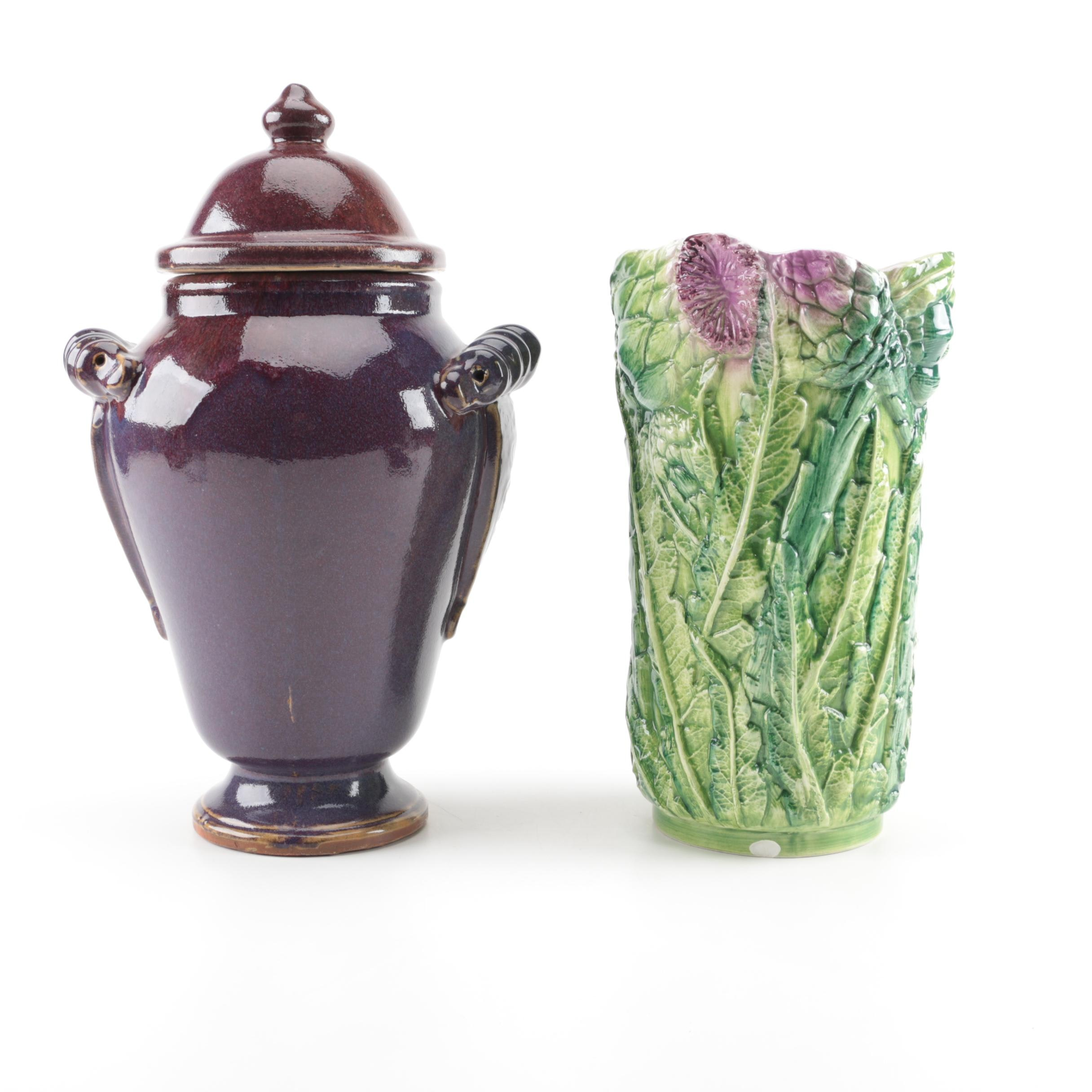Earthenware Urn and Ceramic vase