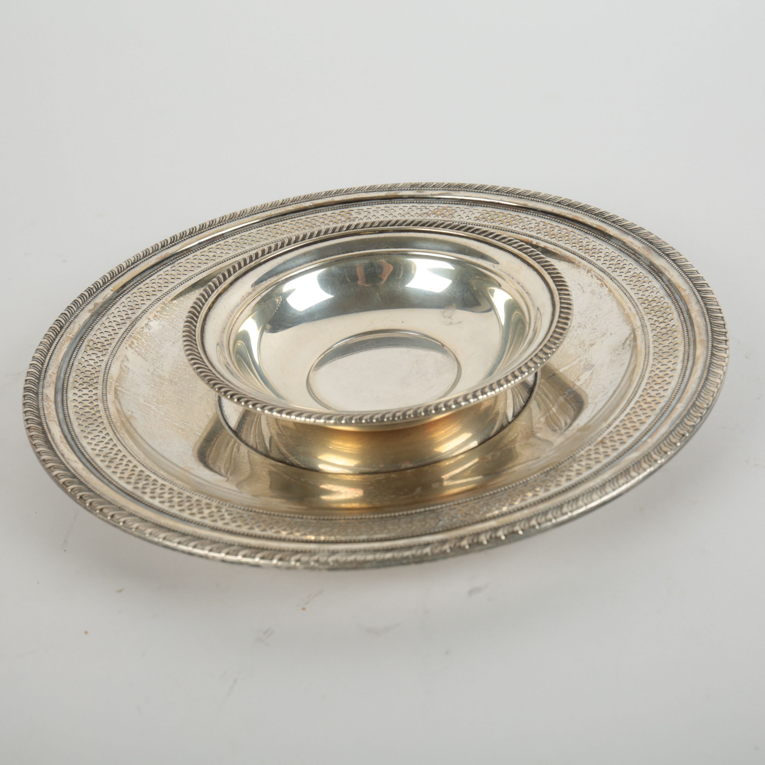 Sterling Silver Serveware Featuring a Gorham Bowl and Redlich & Company Platter