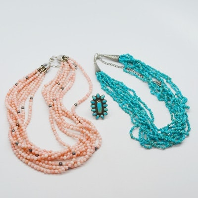 Multi-Strand Bead Necklaces with Sterling Silver Clasps and Ring