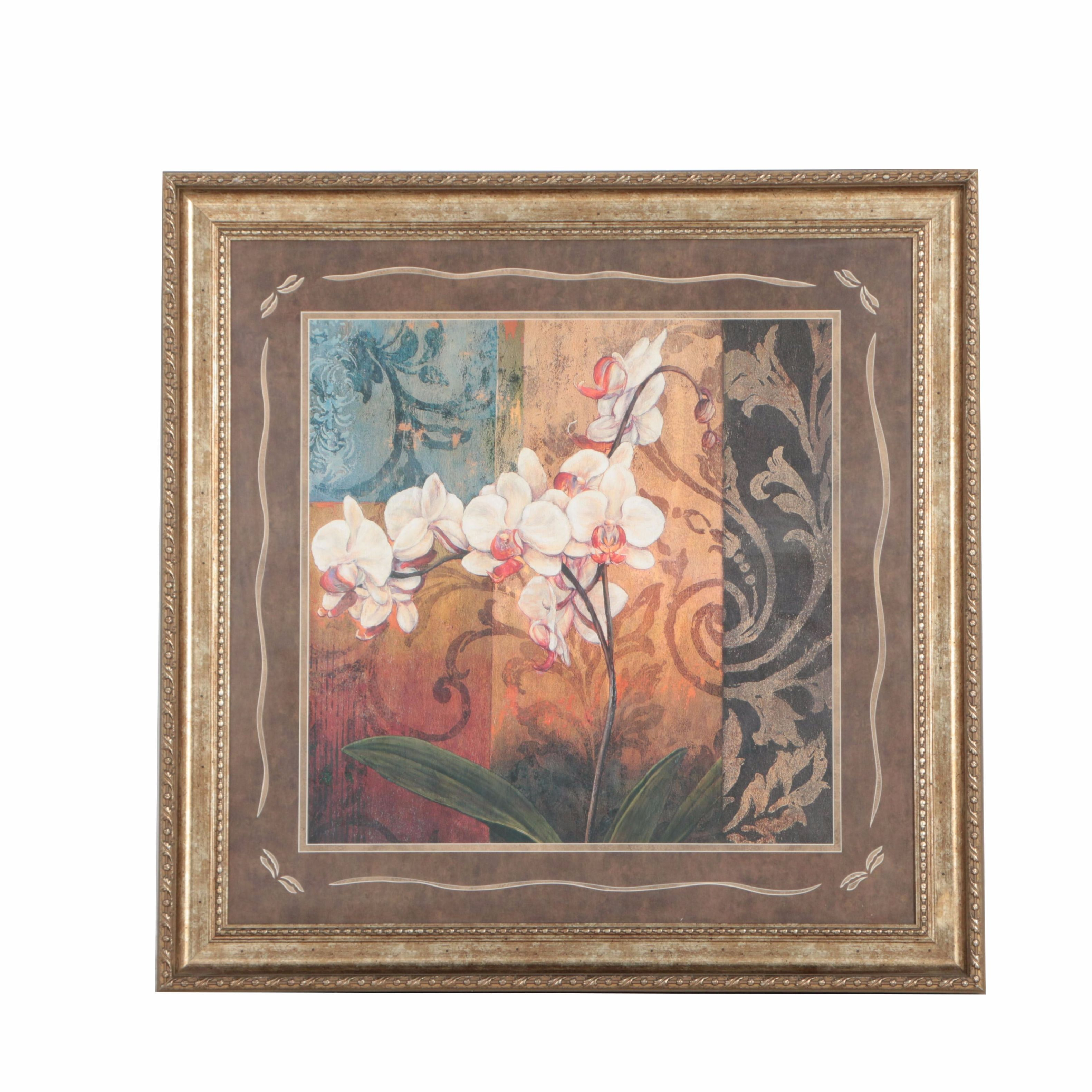 Framed Offset Lithograph of Orchids