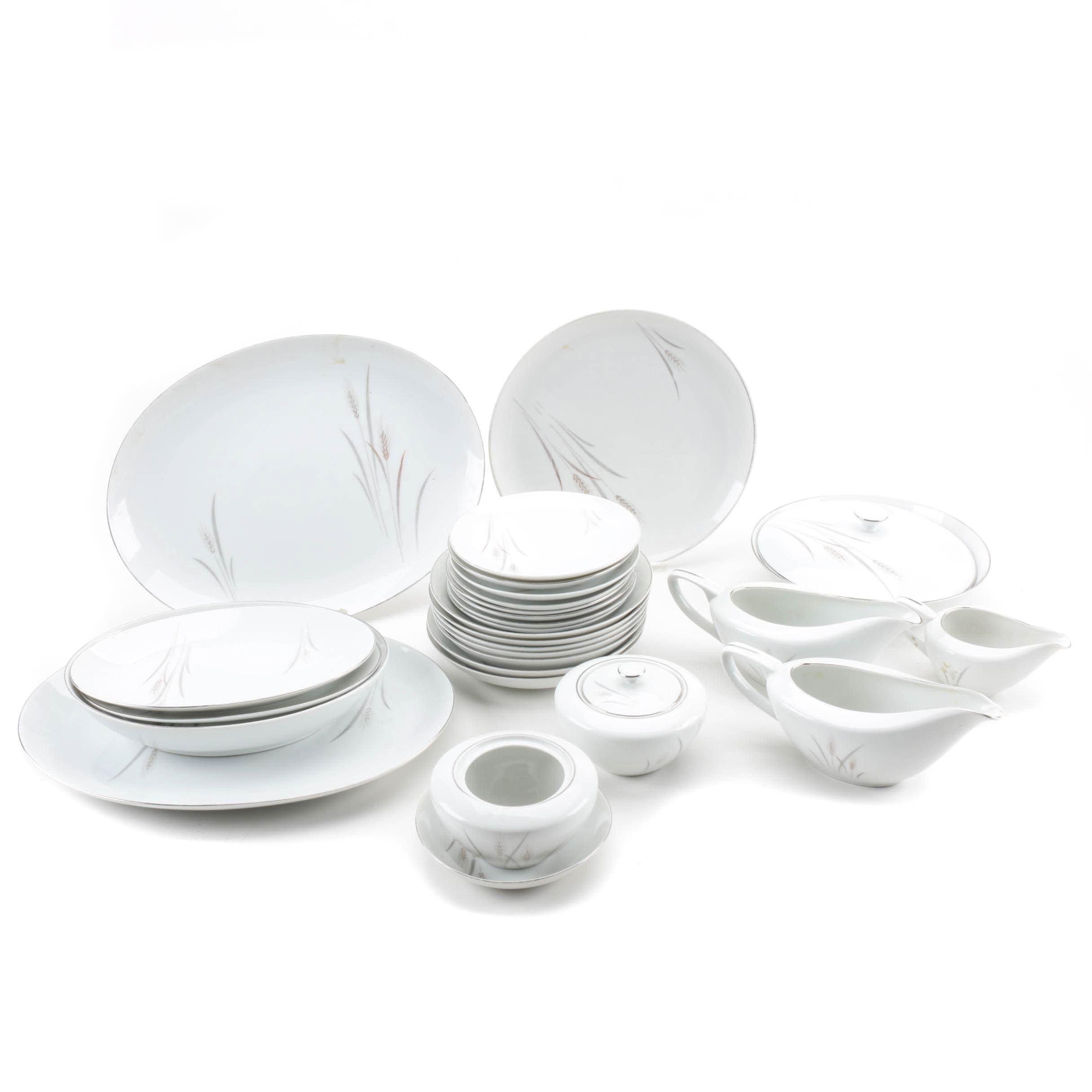 "Fine China of Japan ""Platinum Wheat"" Dishware Set"