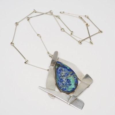 Sterling Silver Signed Azurmalachite Pendant Necklace