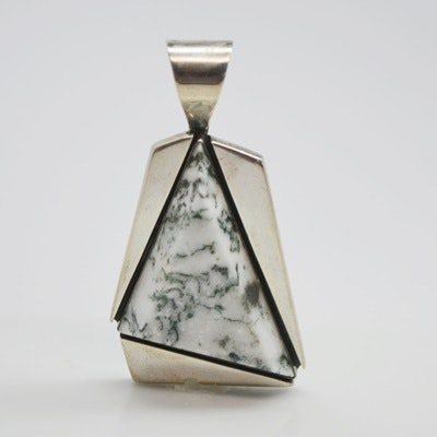 Sterling Silver Moss Agate Pendant