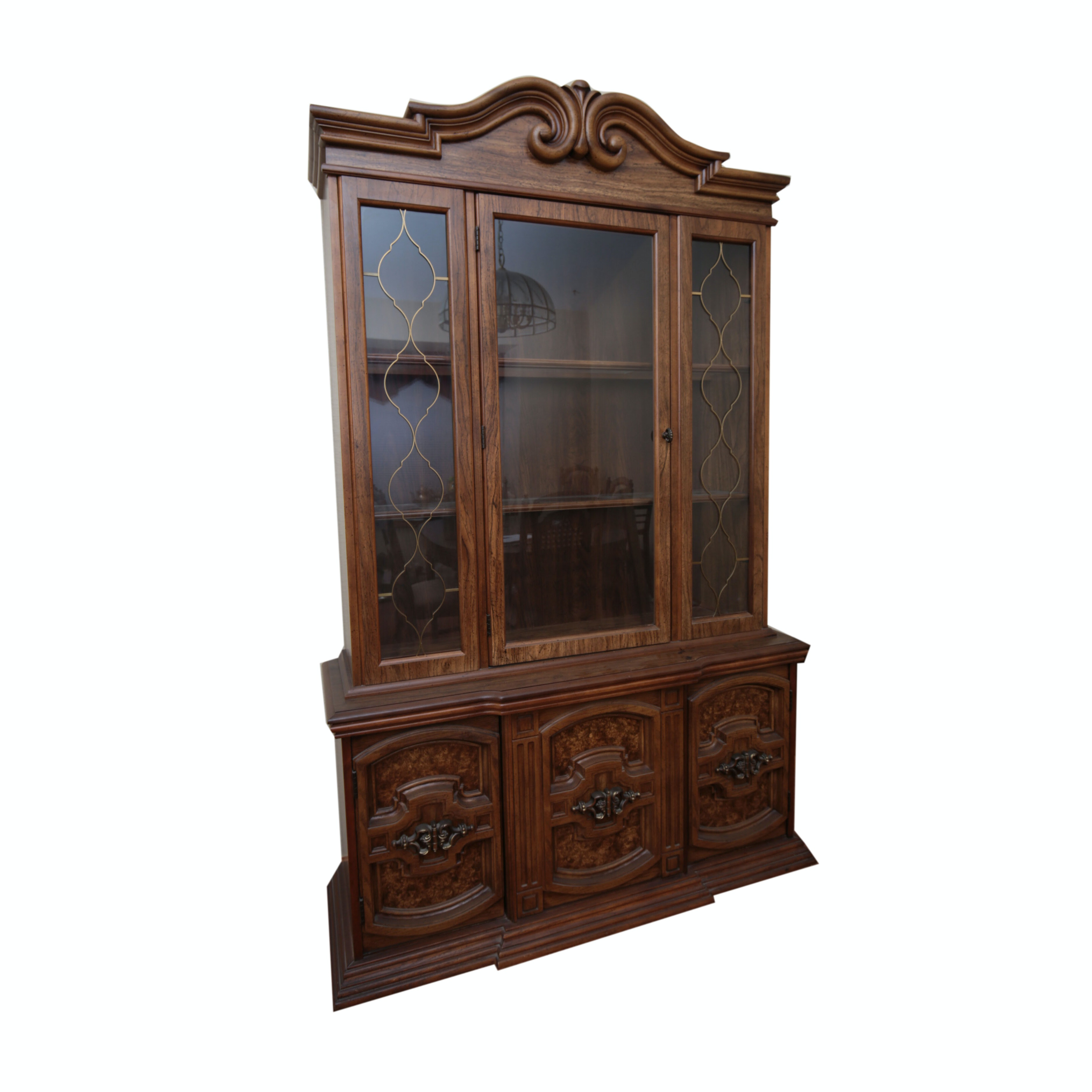 Large Display Cabinet in Pecan Finish