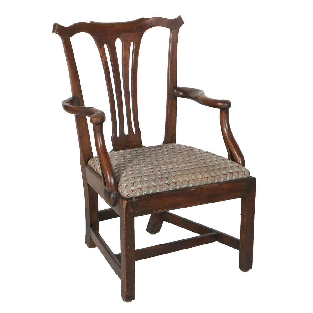 Antique Chippendale Open Armchair, Circa Mid to Late 18th Century