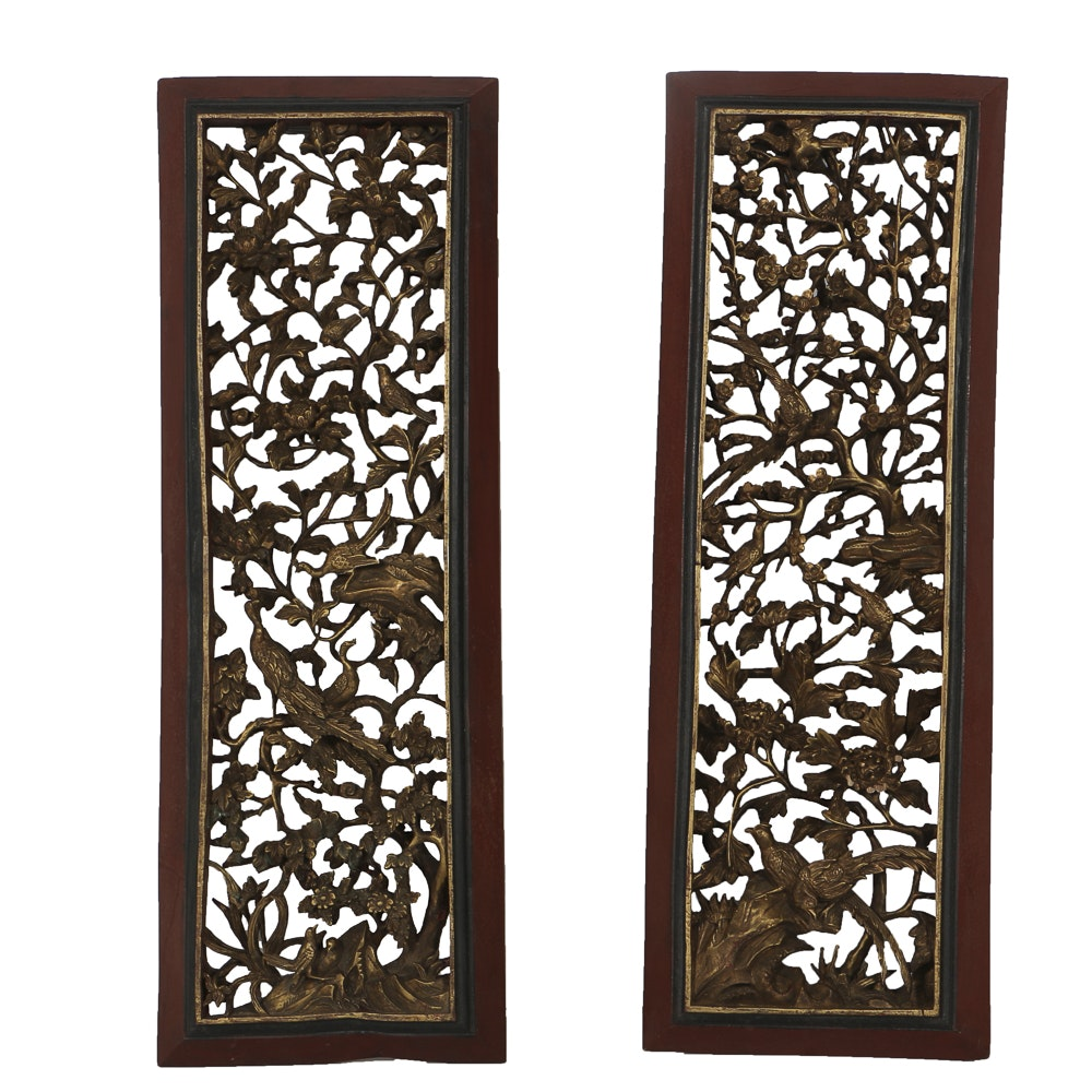 Pair of Deeply Carved Chinese Panels Depicting  the Mythical Fenghuang Bird