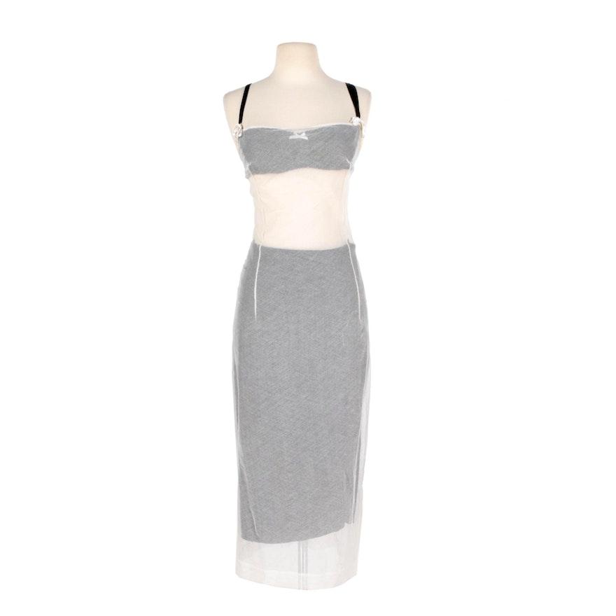 Dolce & Gabbana White Mesh Dress with Black Slip
