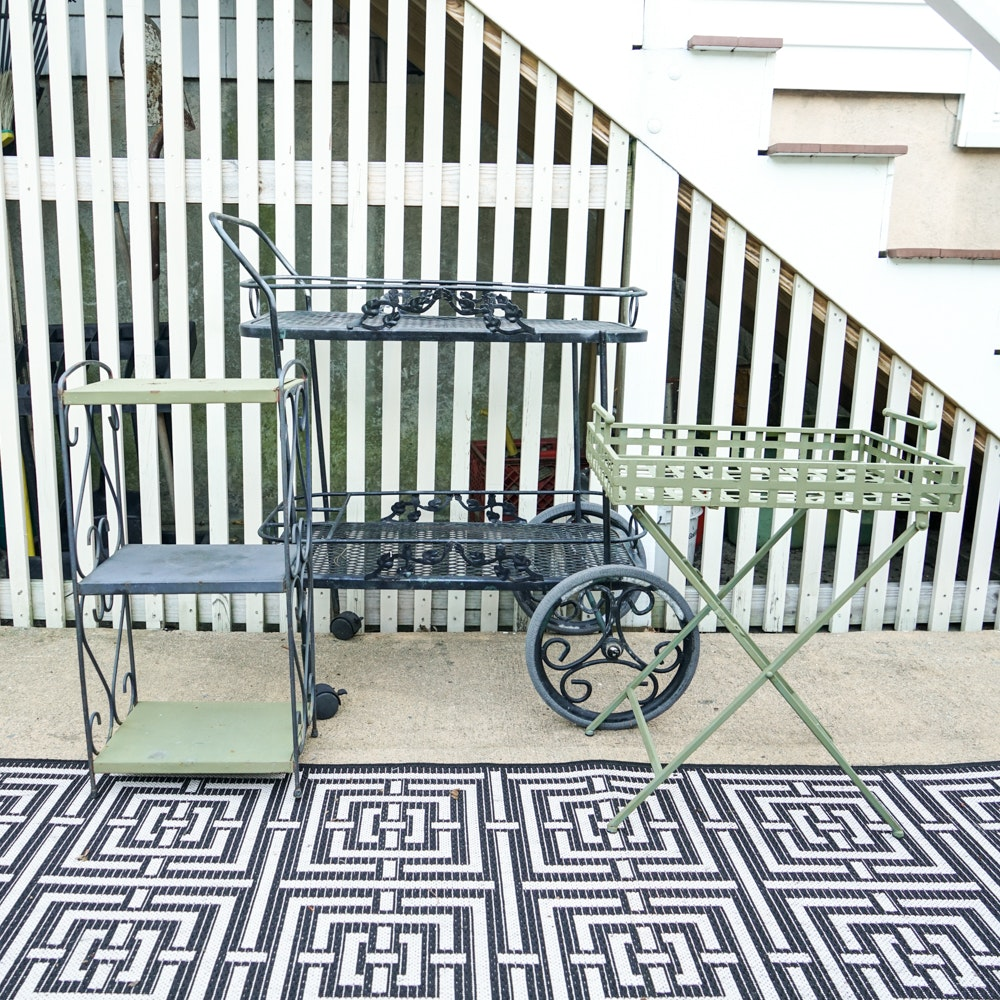Wrought Iron Tea Cart and Patio Tables