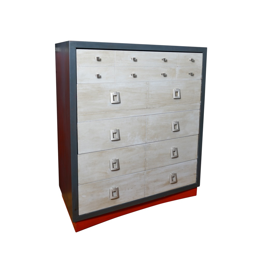 Black Painted Chest of Drawers with Grey Washed Finish