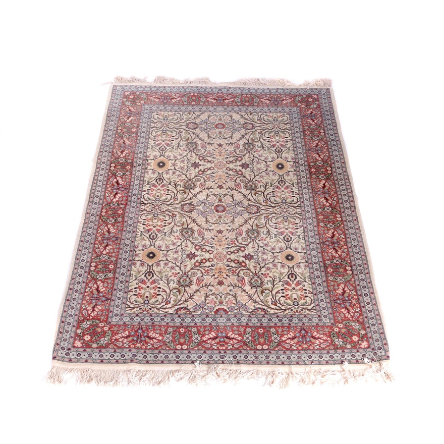 Hand Knotted Indo Persian Obeetee Wool Area Rug Ebth: Finely Hand-Knotted Turkish Hereke Area Rug : EBTH