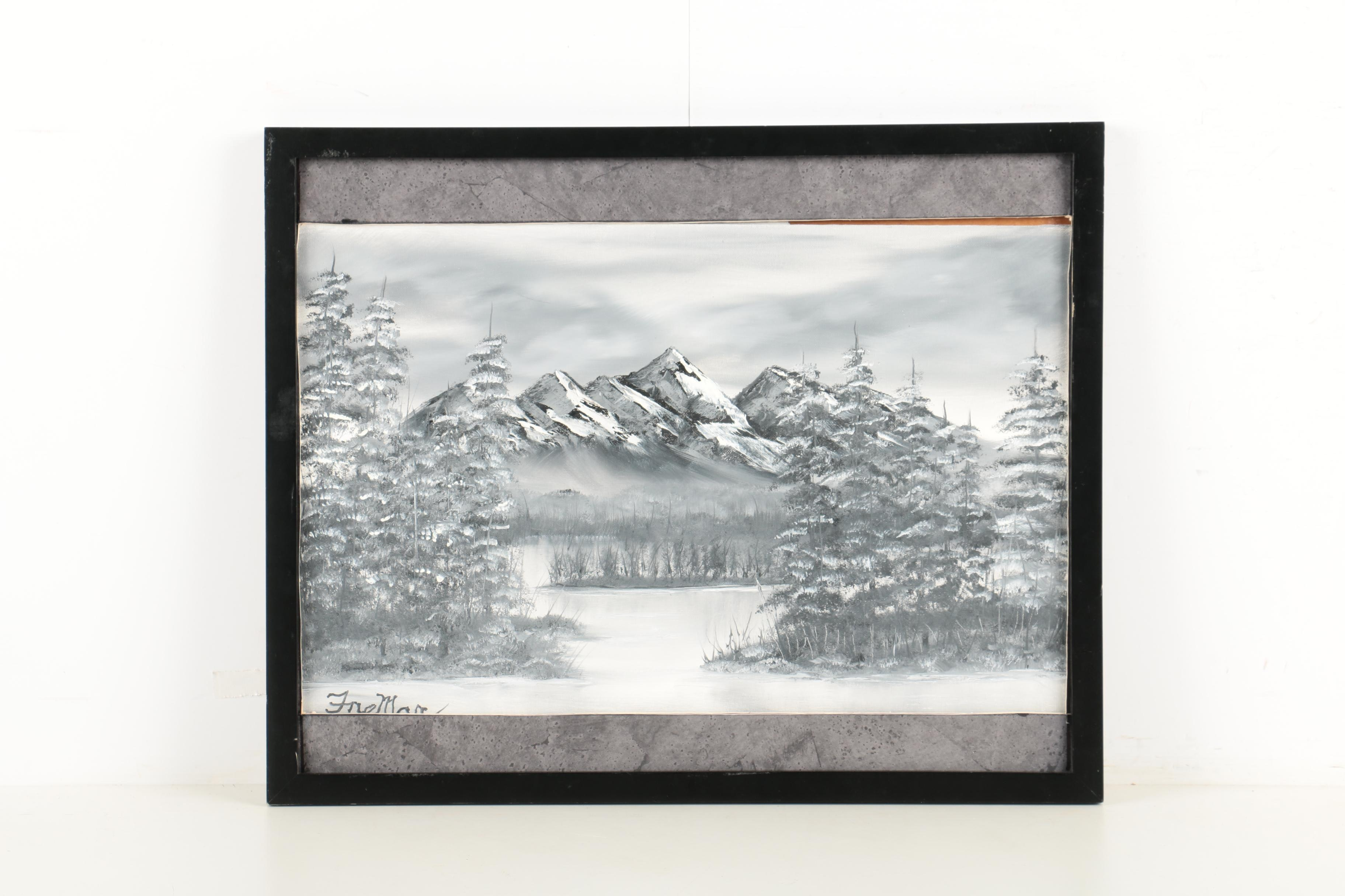 Oil Painting on Canvas board of Winter Scene