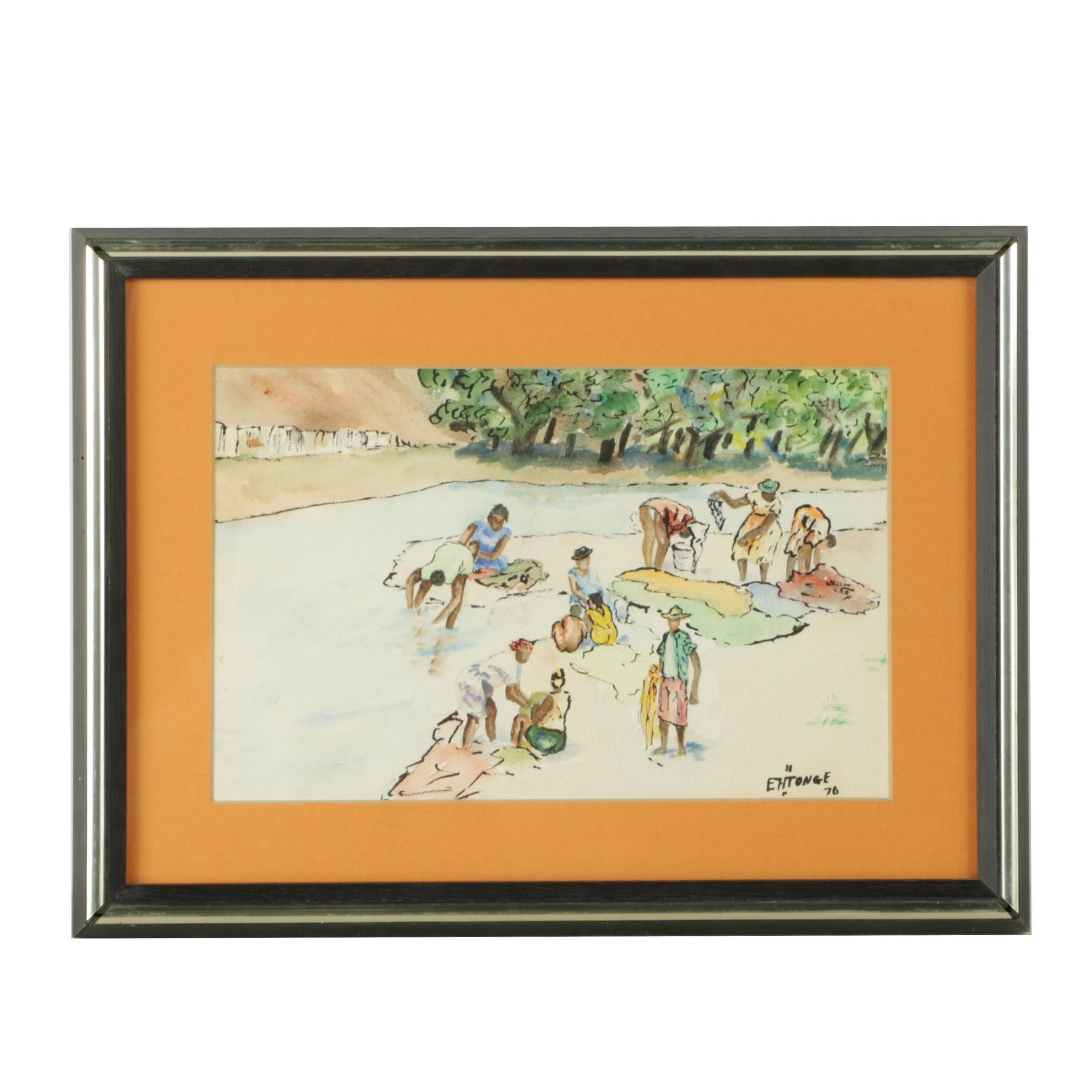 """Framed Original Watercolor and Ink Painting Signed  """"EH Tonge"""""""