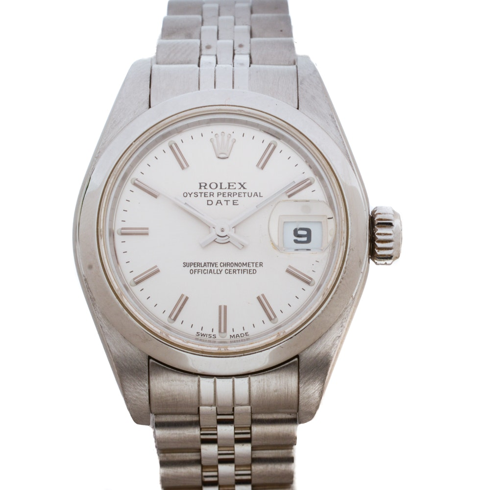 Rolex Perpetual Date Silver Index Automatic 26mm Stainless Steel Wristwatch