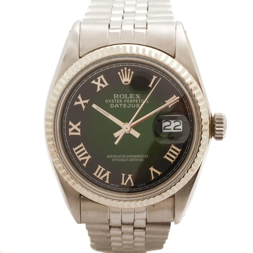 1970s Rolex Datejust 36mm Black Dial Stainless Steel Wristwatch