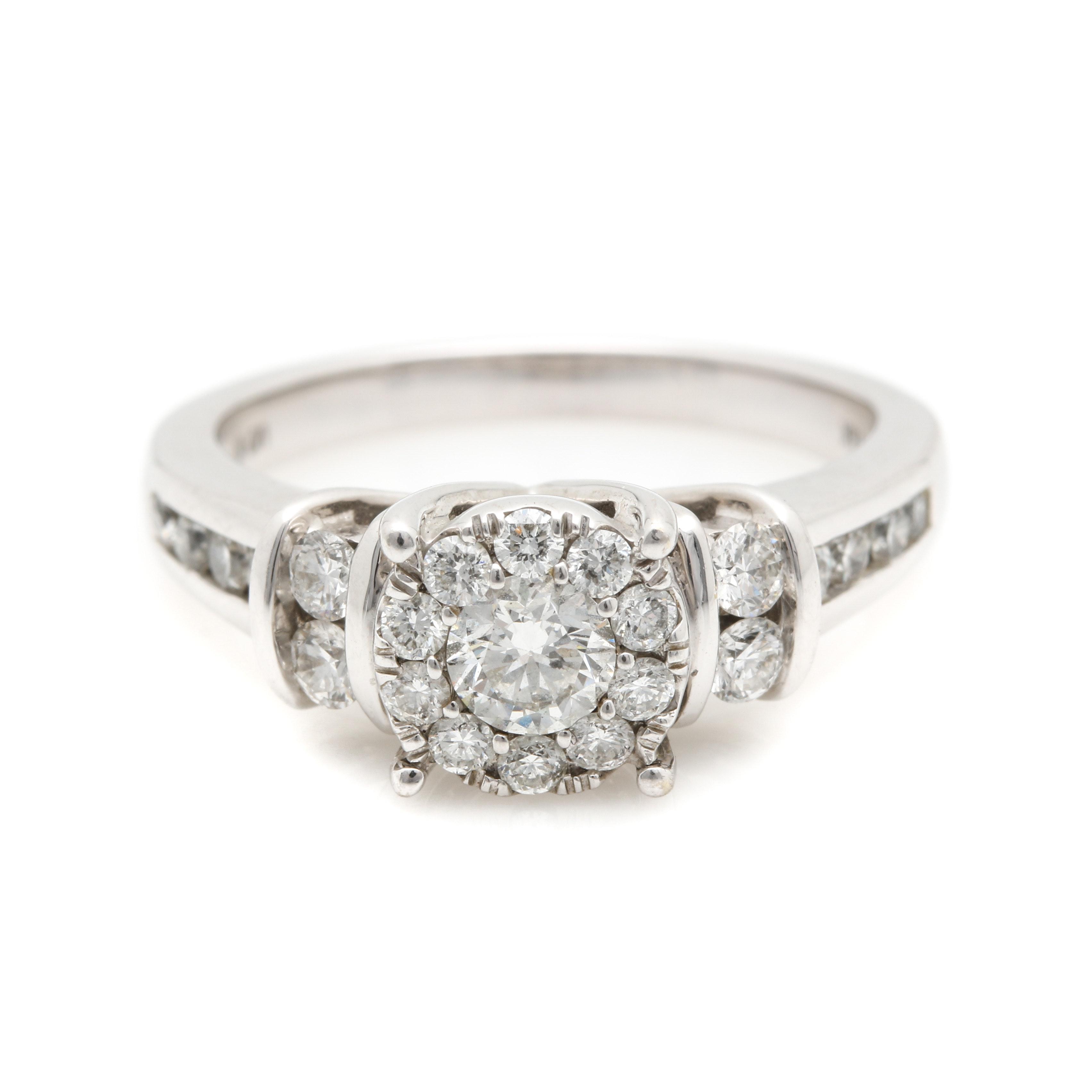 14K White Gold Diamond Halo Ring
