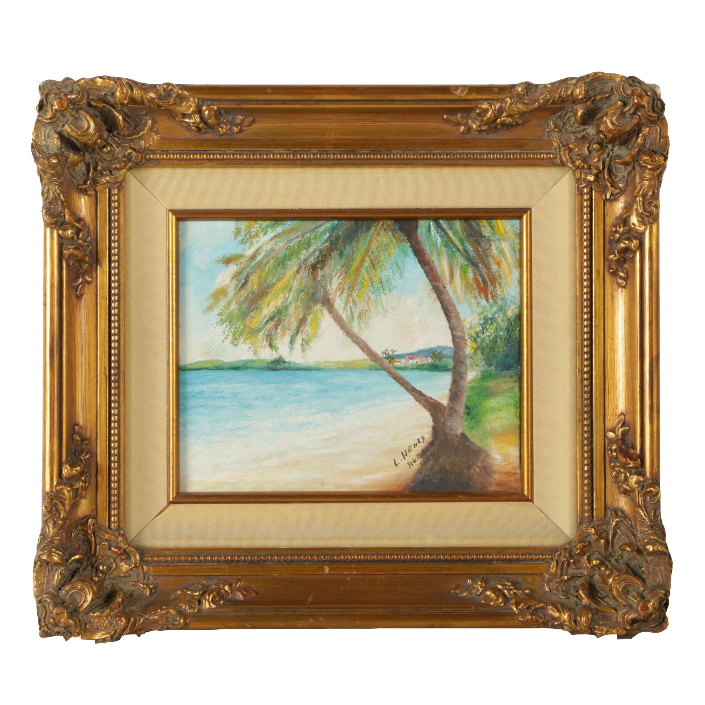 L. Henry Oil Painting of a Tropical Beach Scene