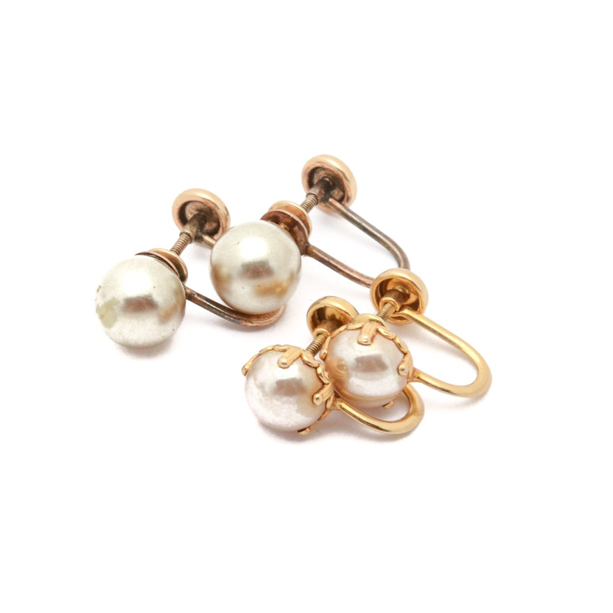 e27031933 Two Pairs Vintage 10K Gold Imitation Pearl Screw Back Earrings | EBTH