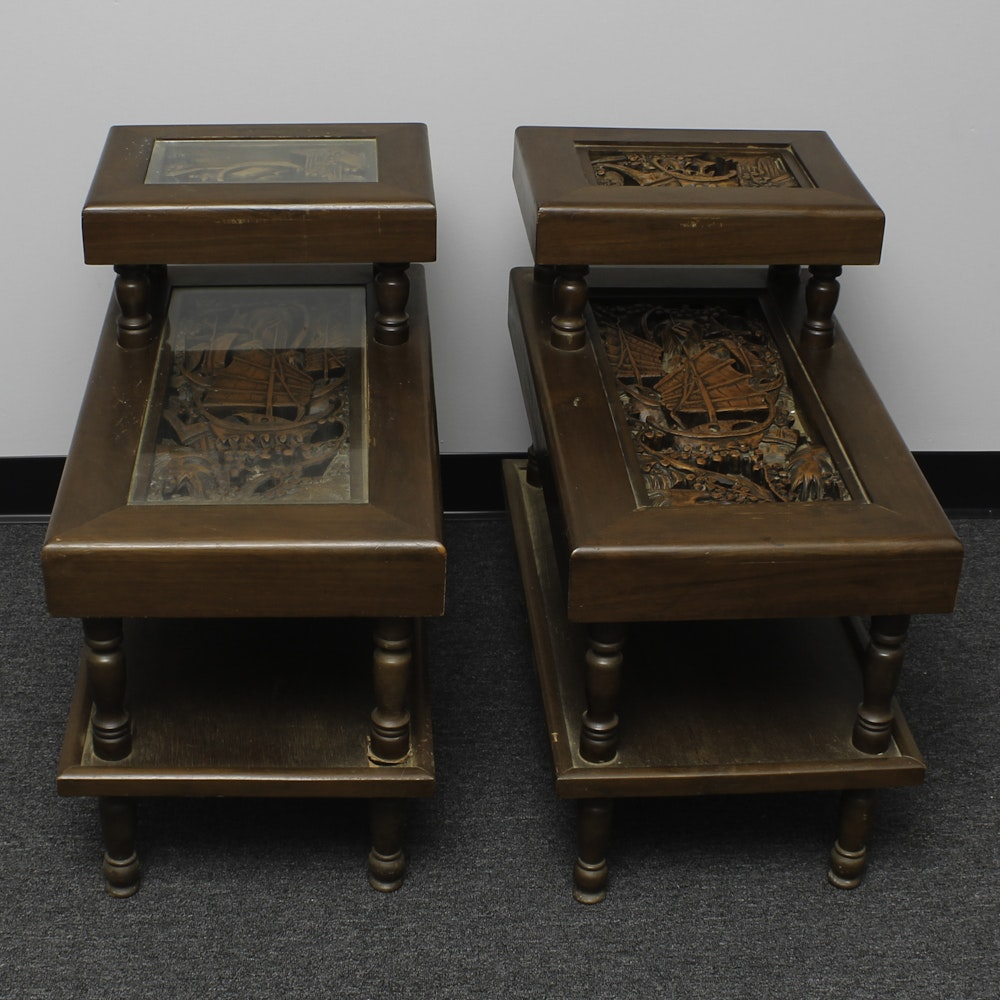 Asian Boat Carved Step Back Table Pair