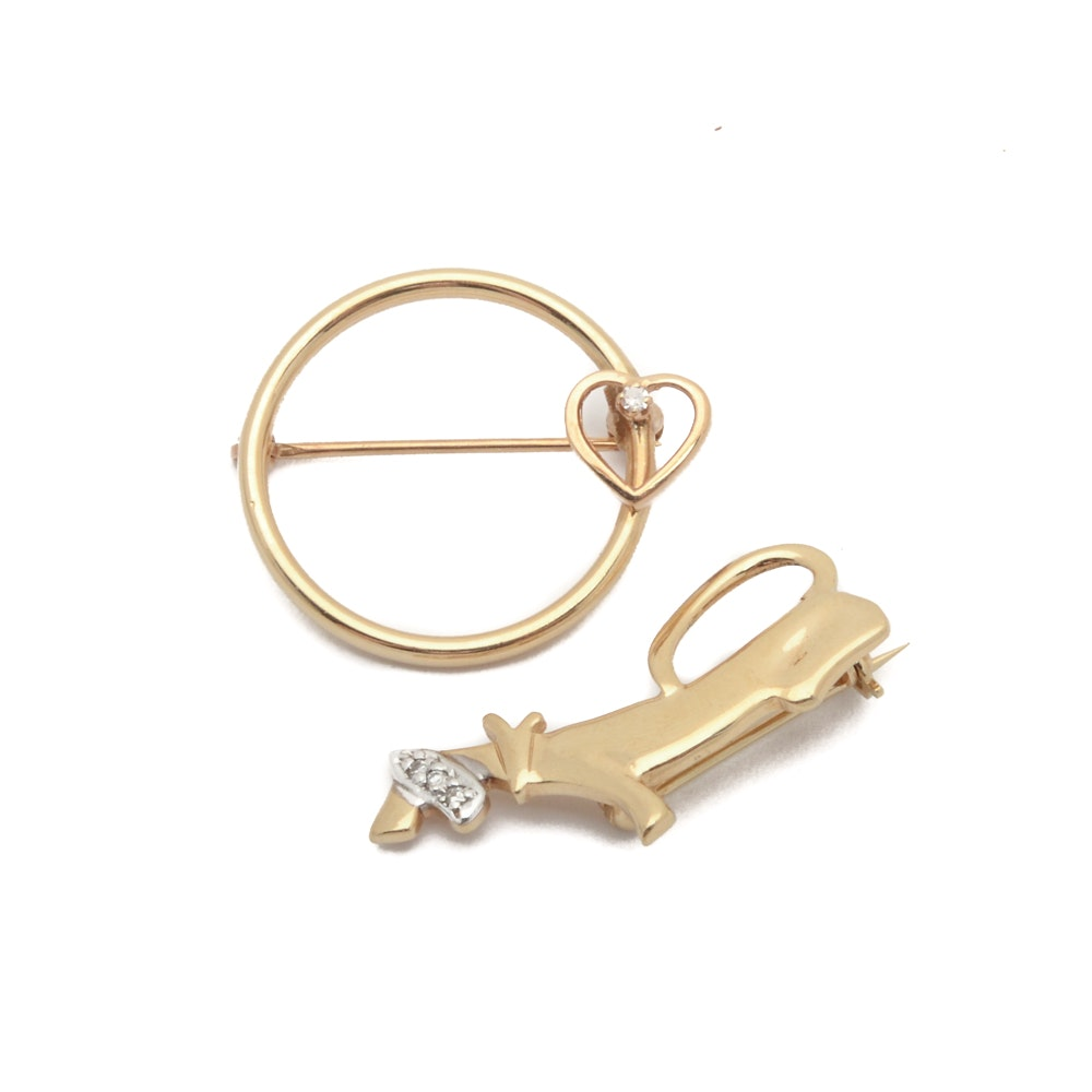 14K Yellow Gold Brooches with Diamond Accents