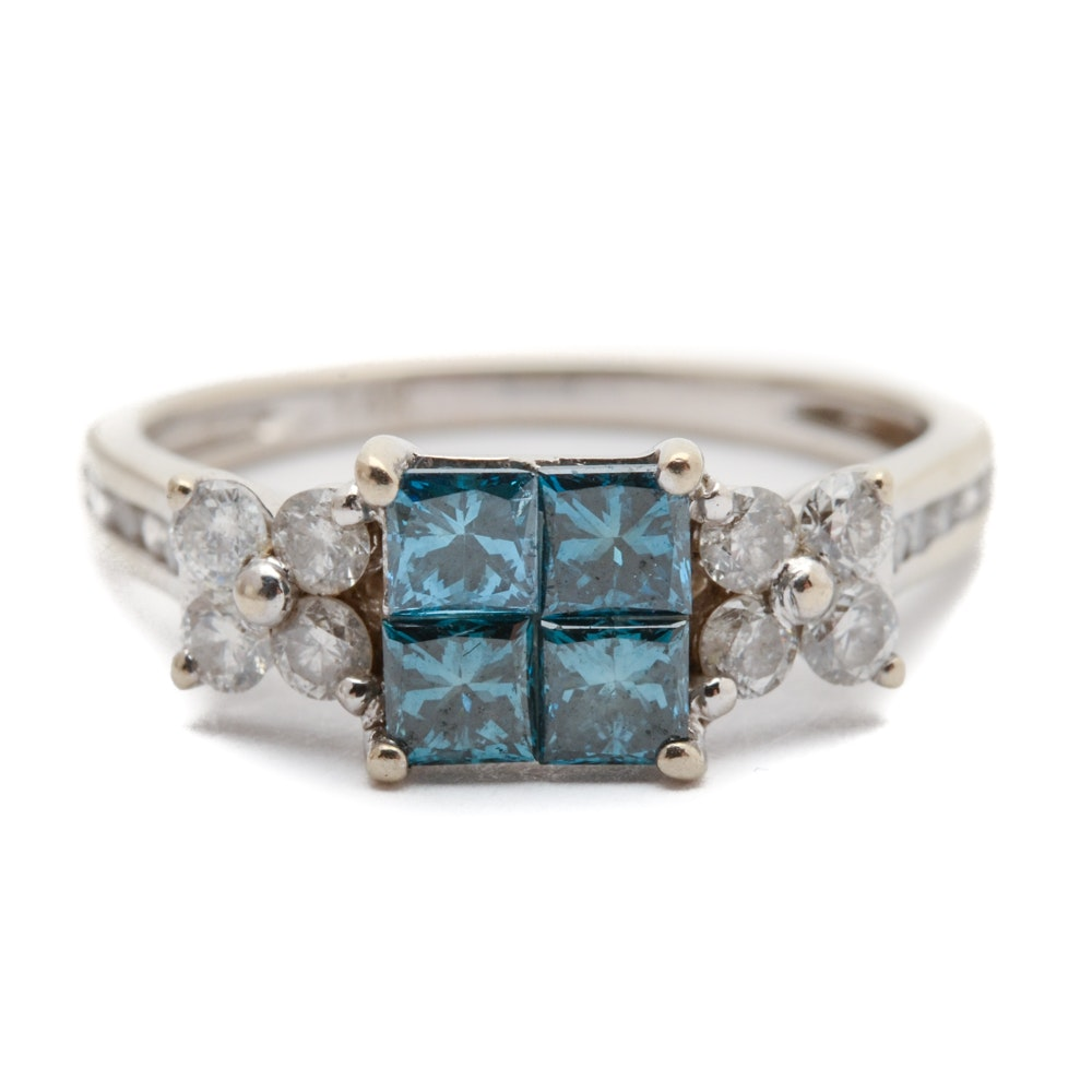 14K White Gold Ring with Blue and White Diamonds