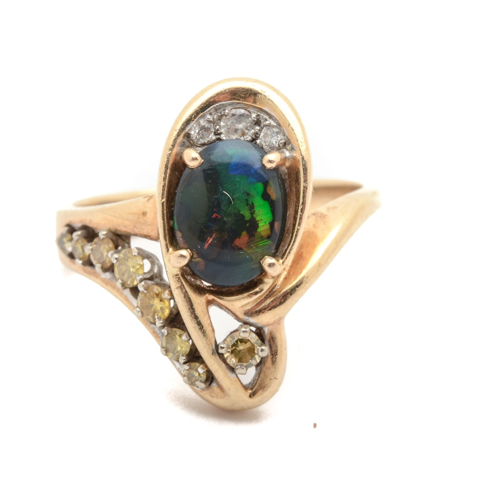 14K Gold Ring with Black Opal and Diamonds