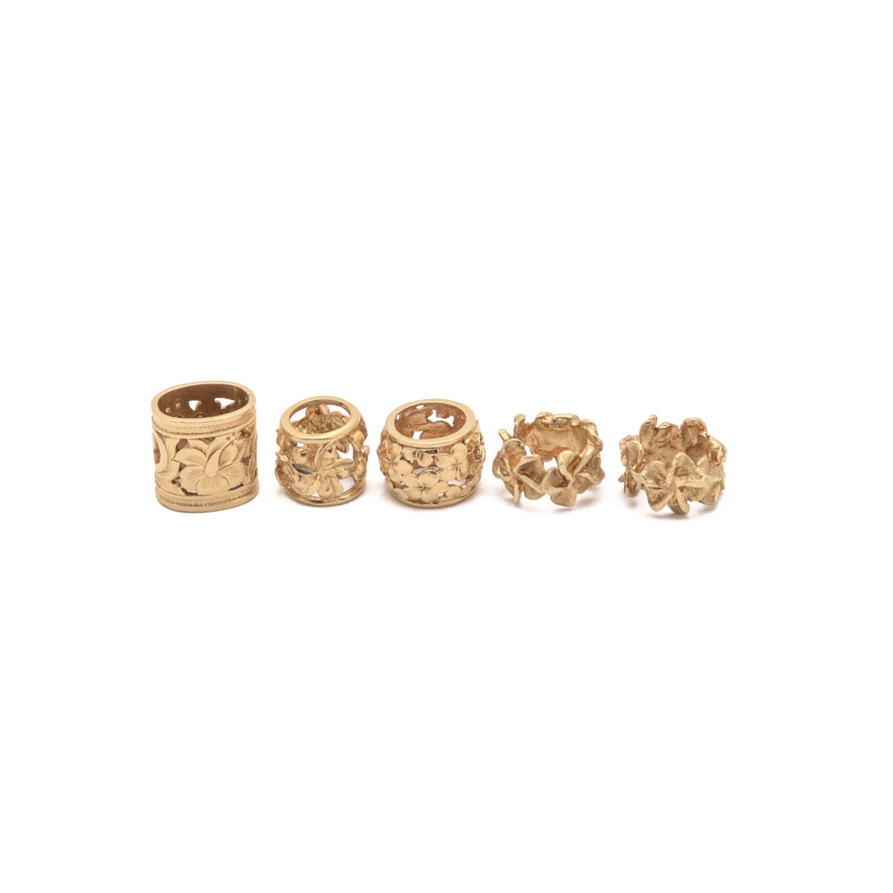 Group of Five 14K Yellow Gold Jewelry Spacers