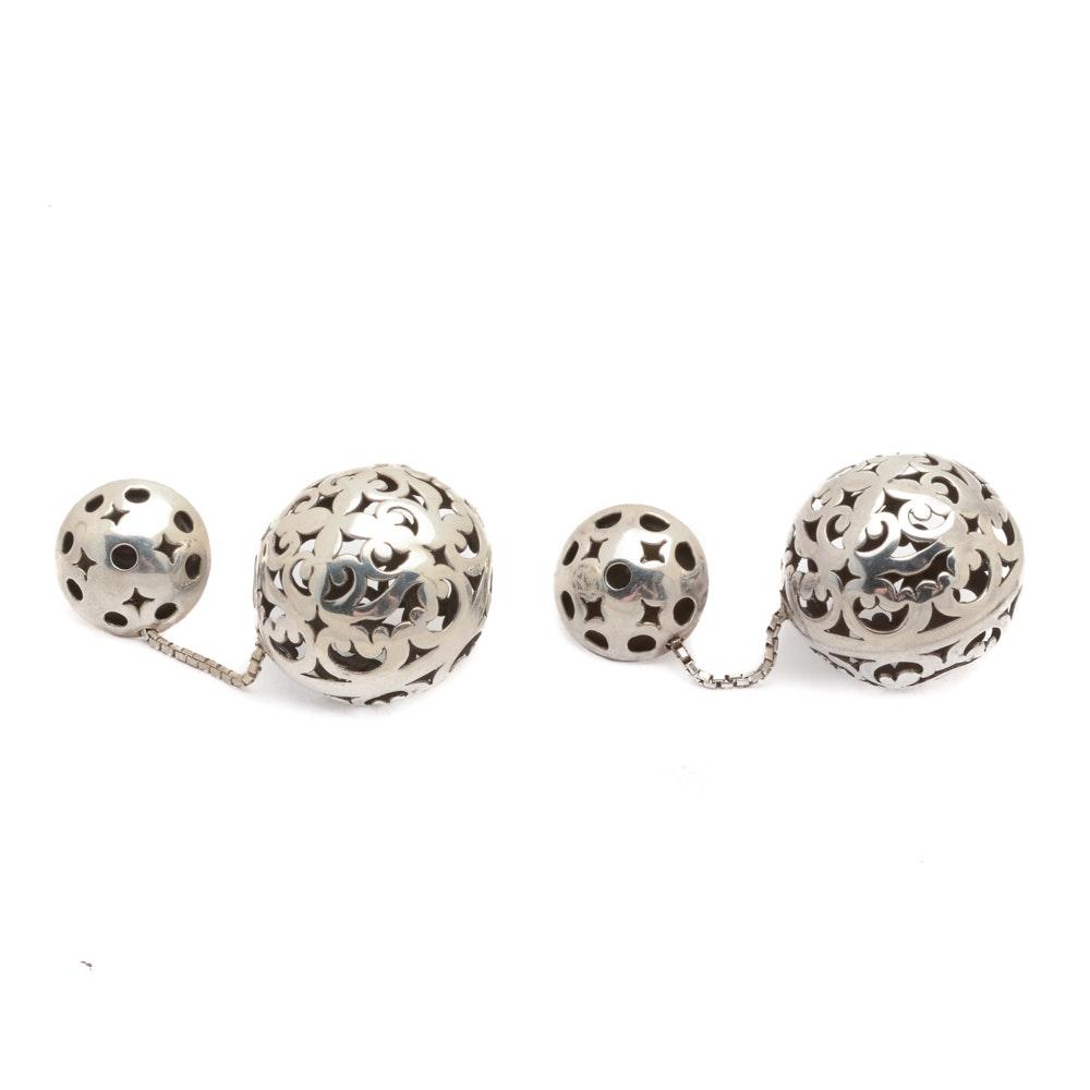 John Hardy Sterling Silver Omega Clip Ball Drop Earrings