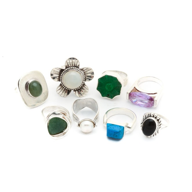 Eight Sterling Silver Rings Featuring Silpada, Dansk Smykkekunst, and Bowekaty