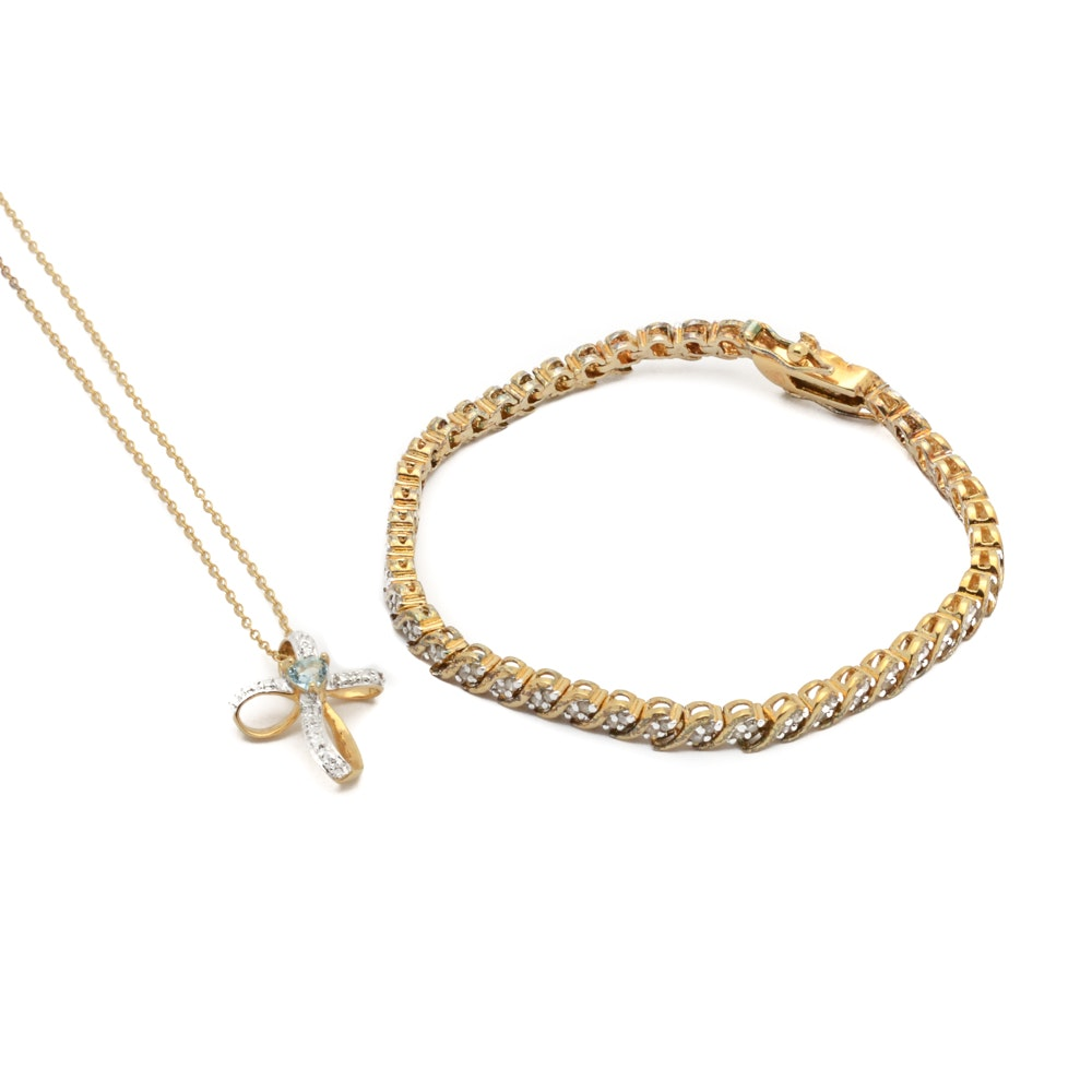 Gold Wash Over Sterling Diamond Tennis Bracelet and Pendant Necklace