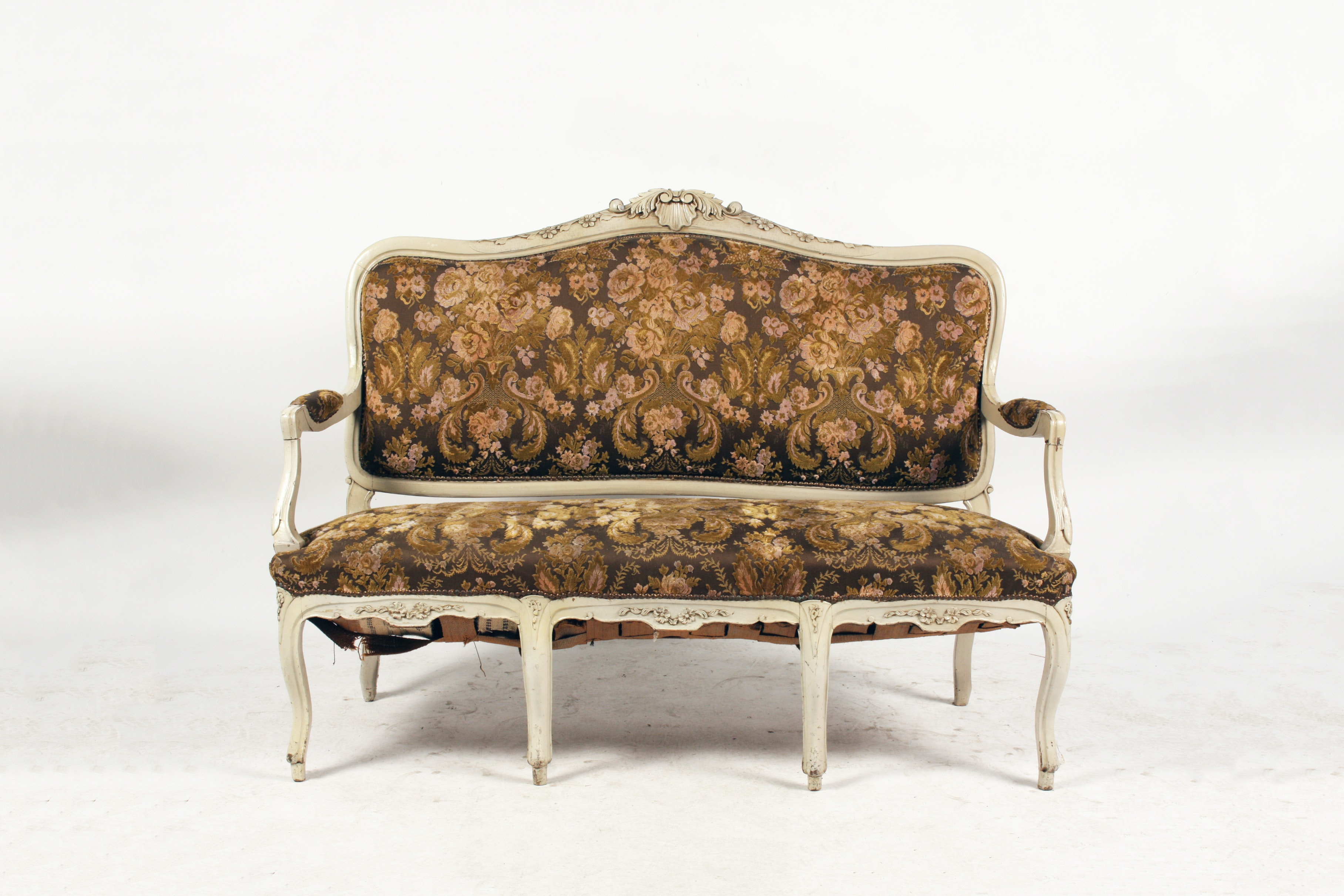 Vintage Painted  French Rococo Style Settee