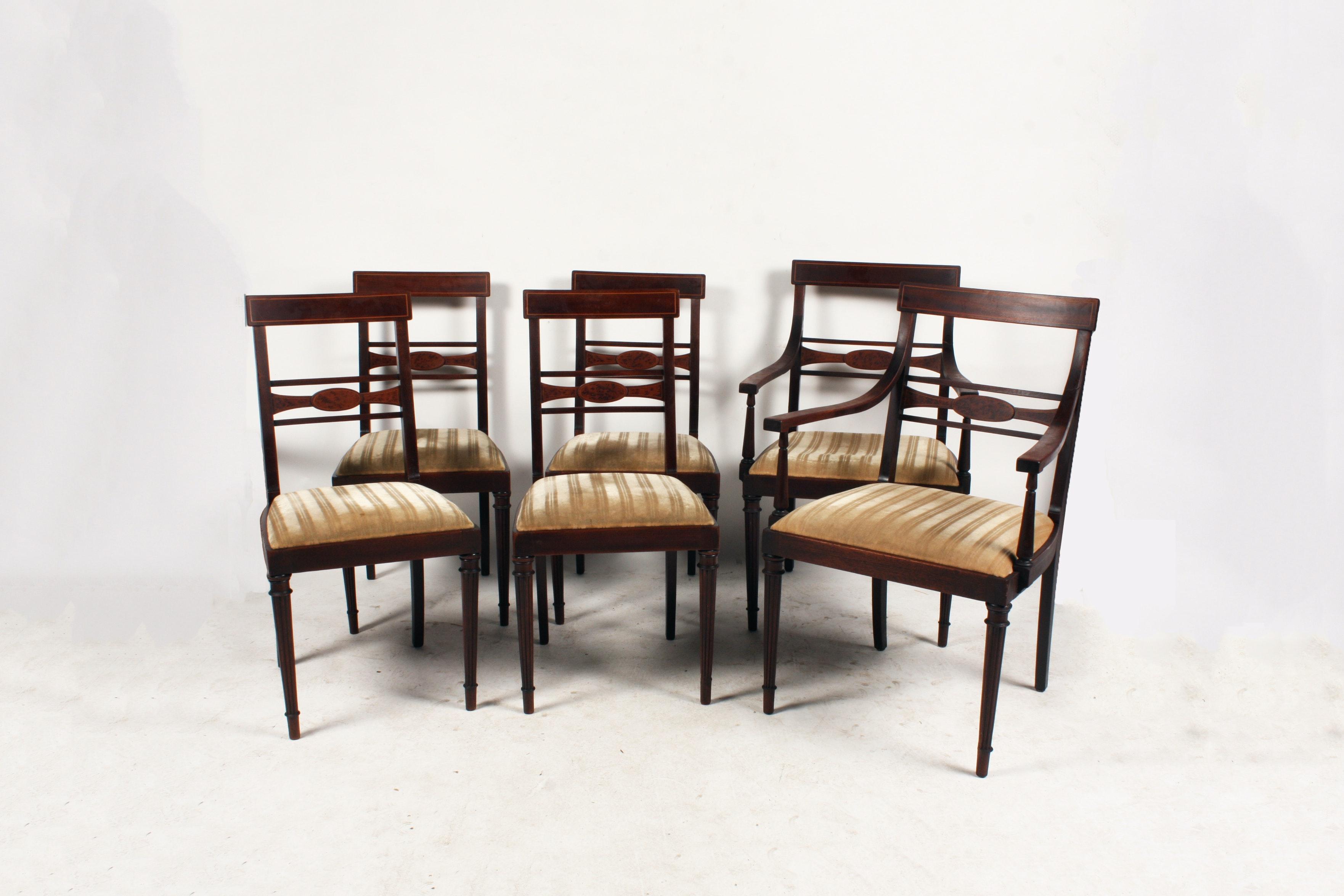 Set Of English Edwardian Style Dining Chairs ...