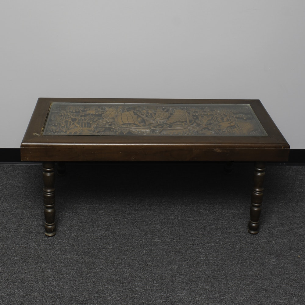 Asian Boat Carved Coffee Table