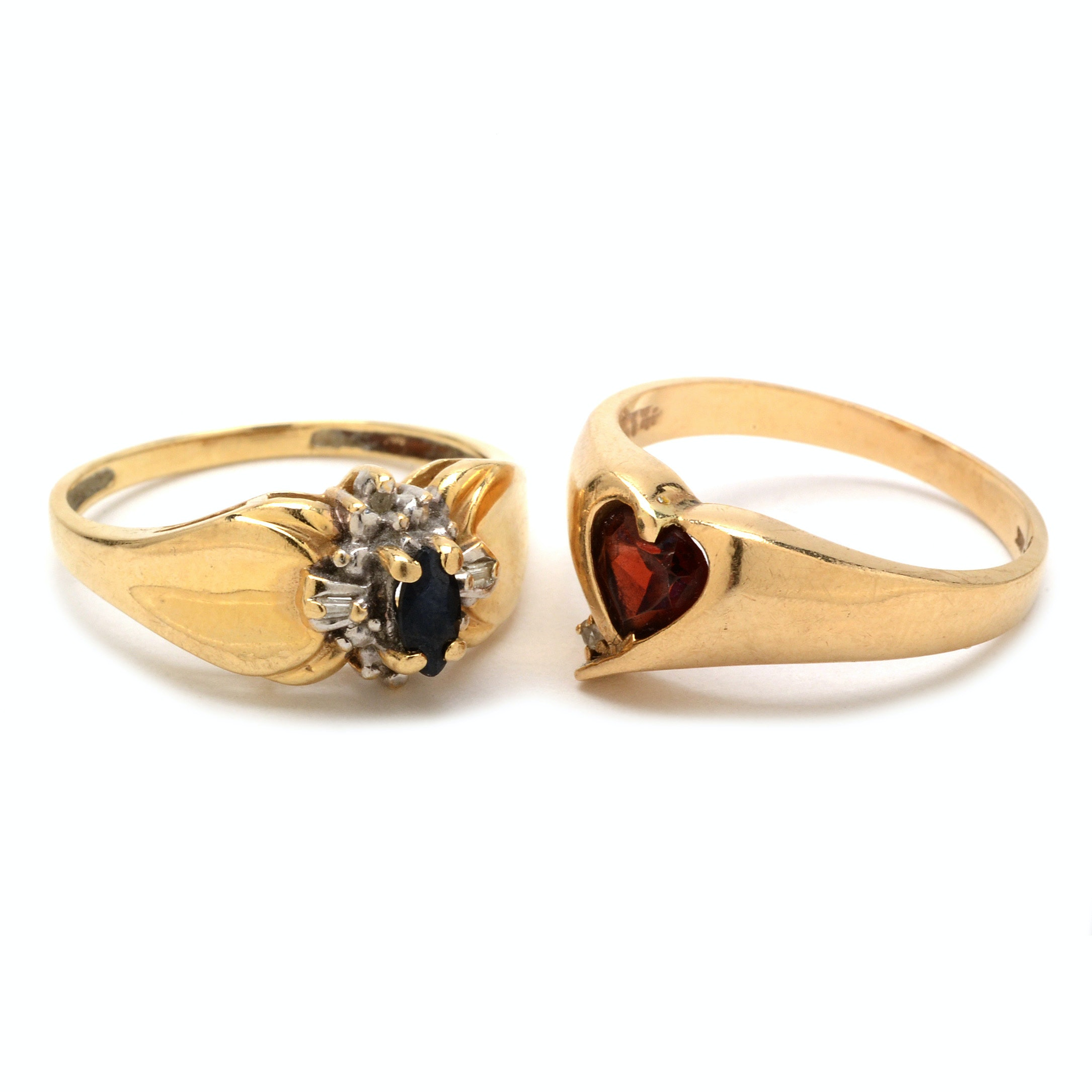 Two 10K Gold Rings with Diamonds and Gemstones