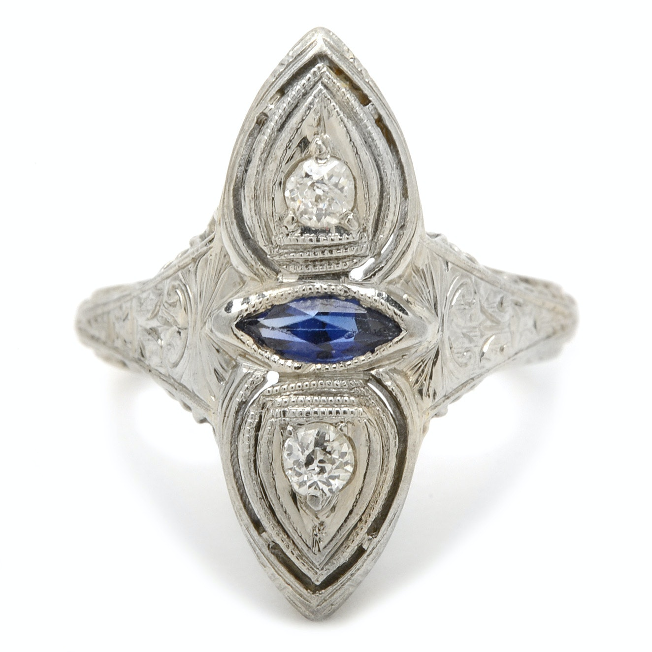 Vintage Belais 18K White Gold, Diamond and Sapphire Ring