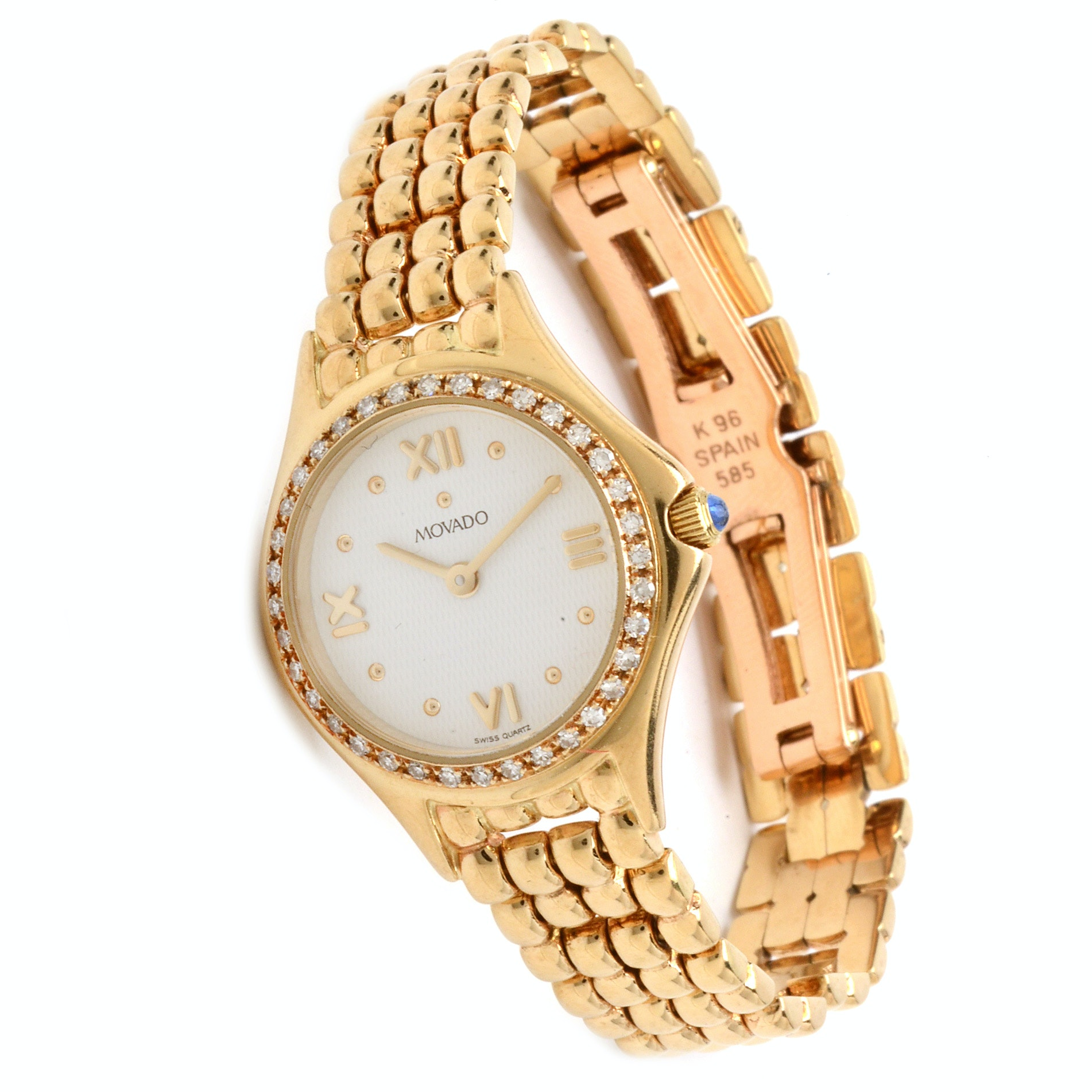 Movado 14K Yellow Gold and Diamond Watch