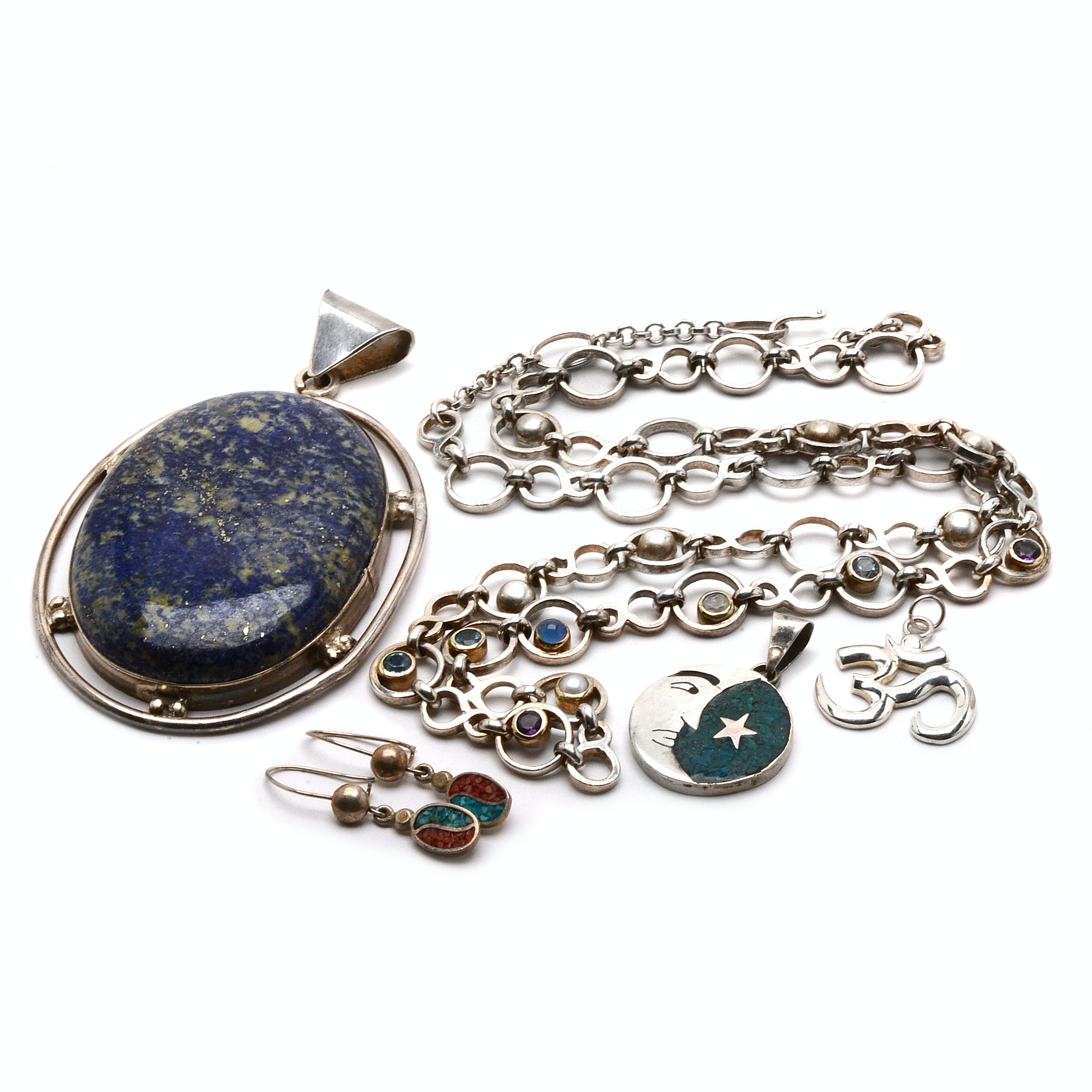 Sterling Silver Jewelry with Bezel-Set and Inlaid Stones