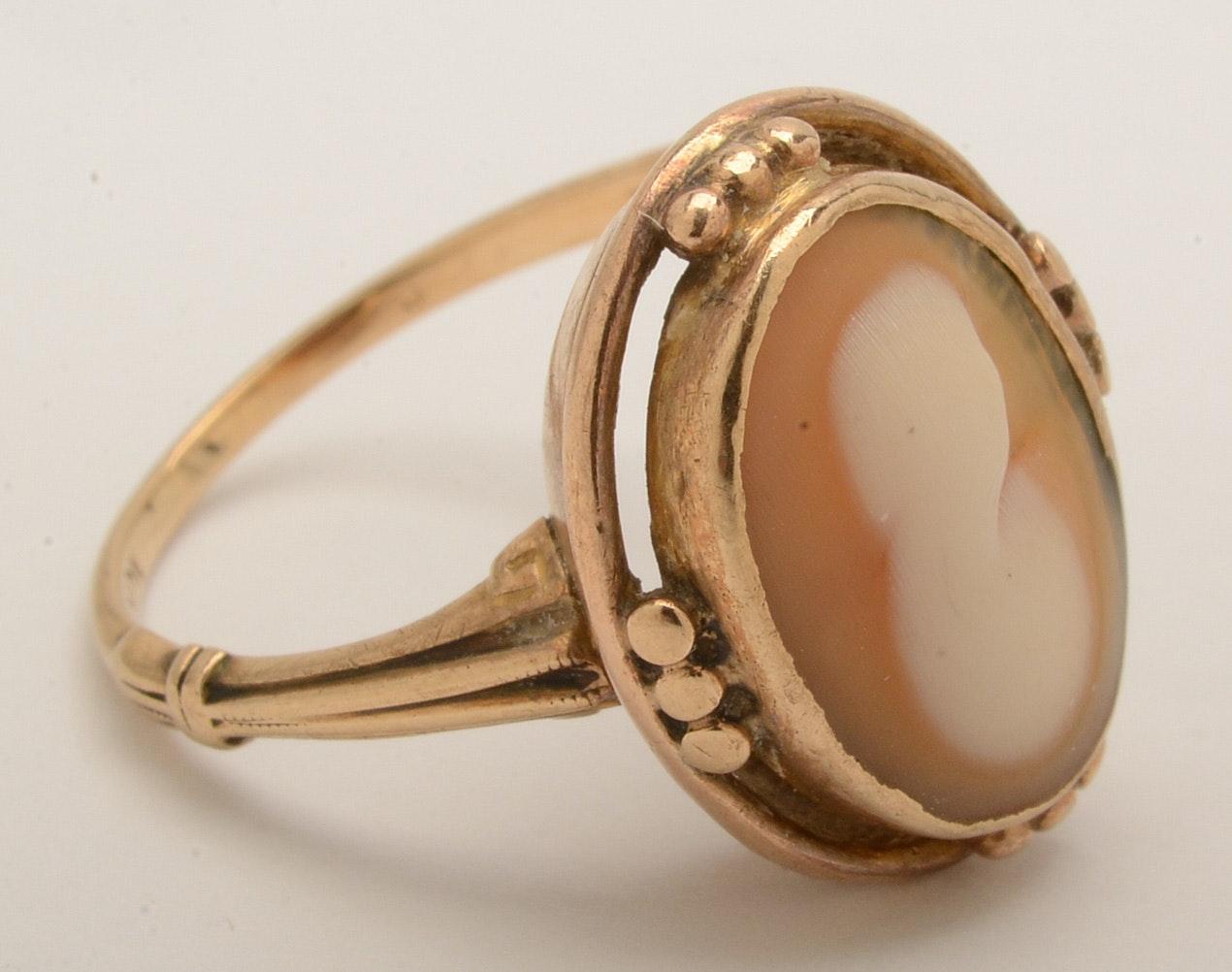 10K Gold Shell Cameo Ring : EBTH