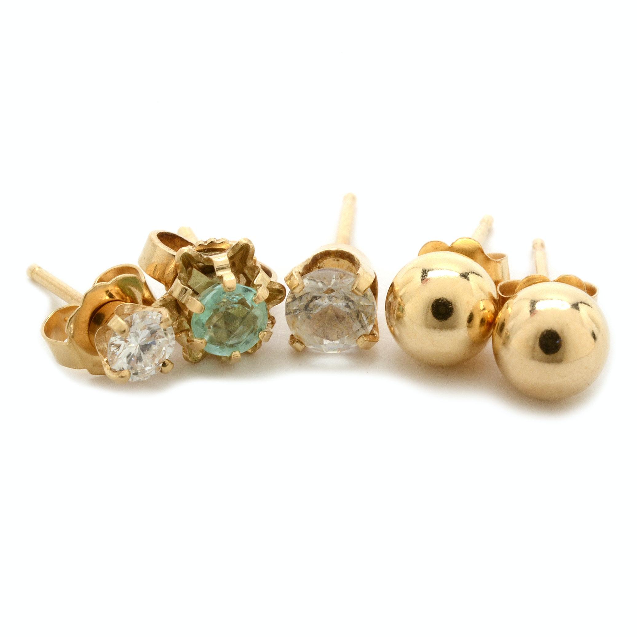Five 14K Gold Stud Earrings