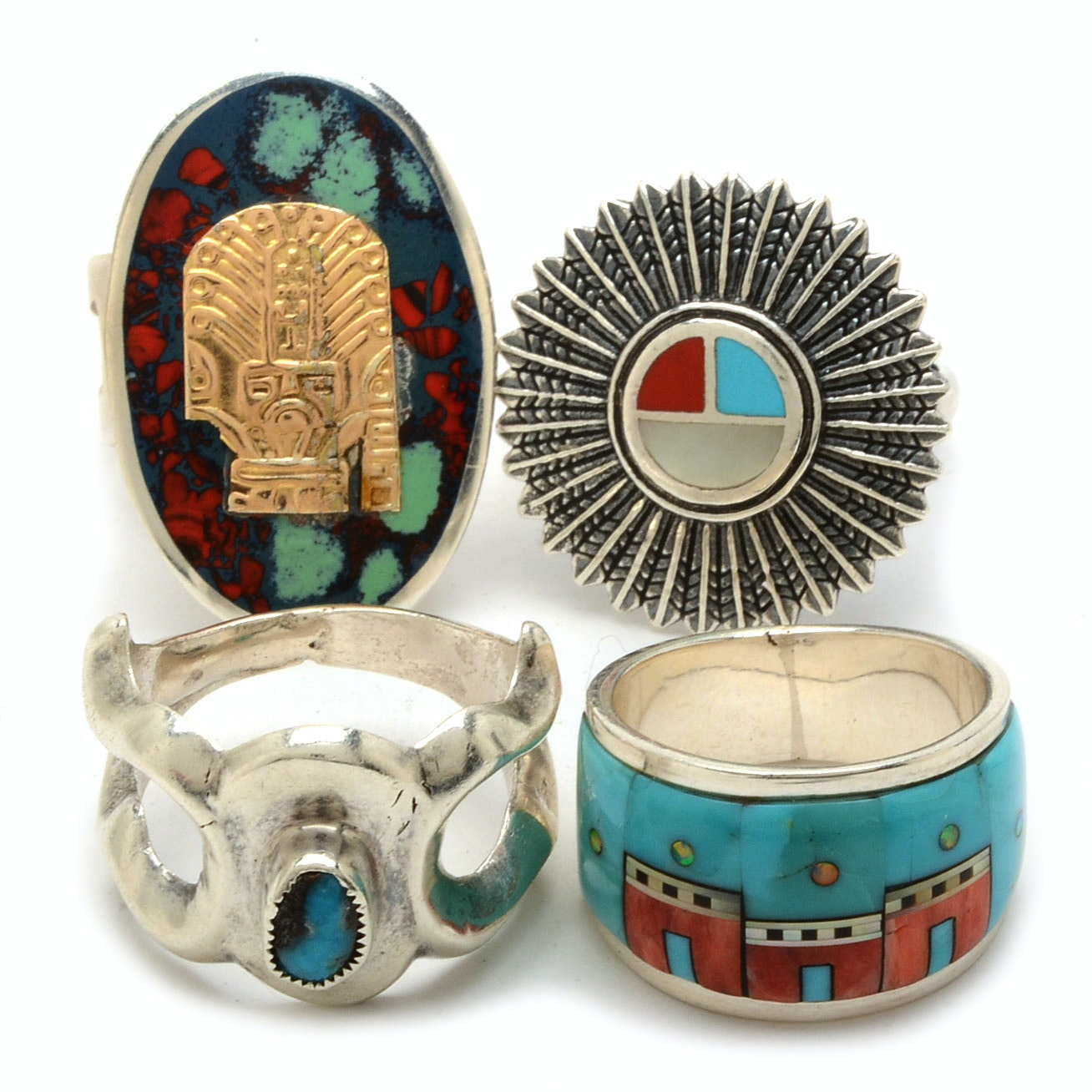 Four Native American Style Sterling Silver Rings