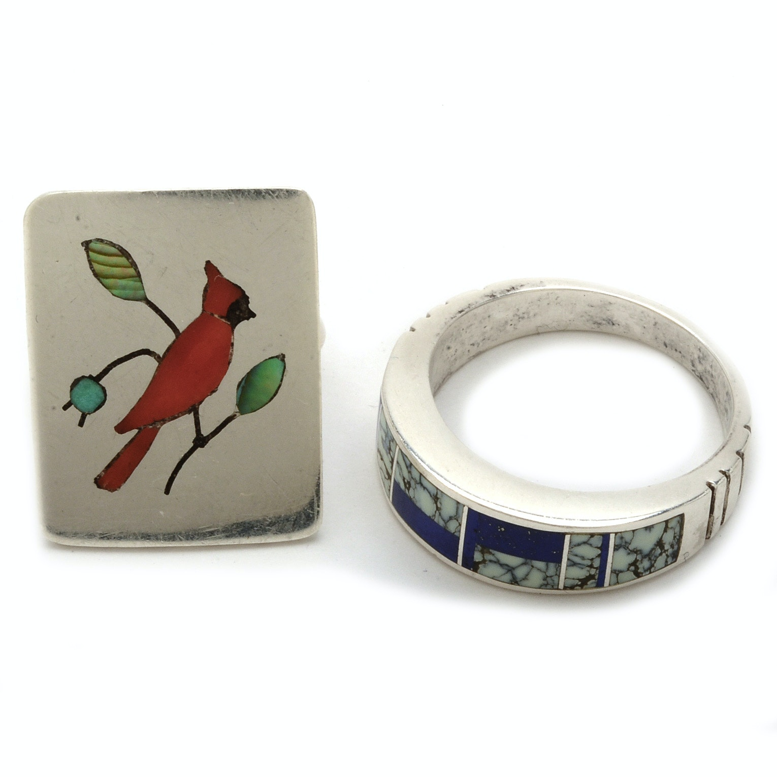 Knifewing and Ghahate Signed Native American Sterling Silver Rings