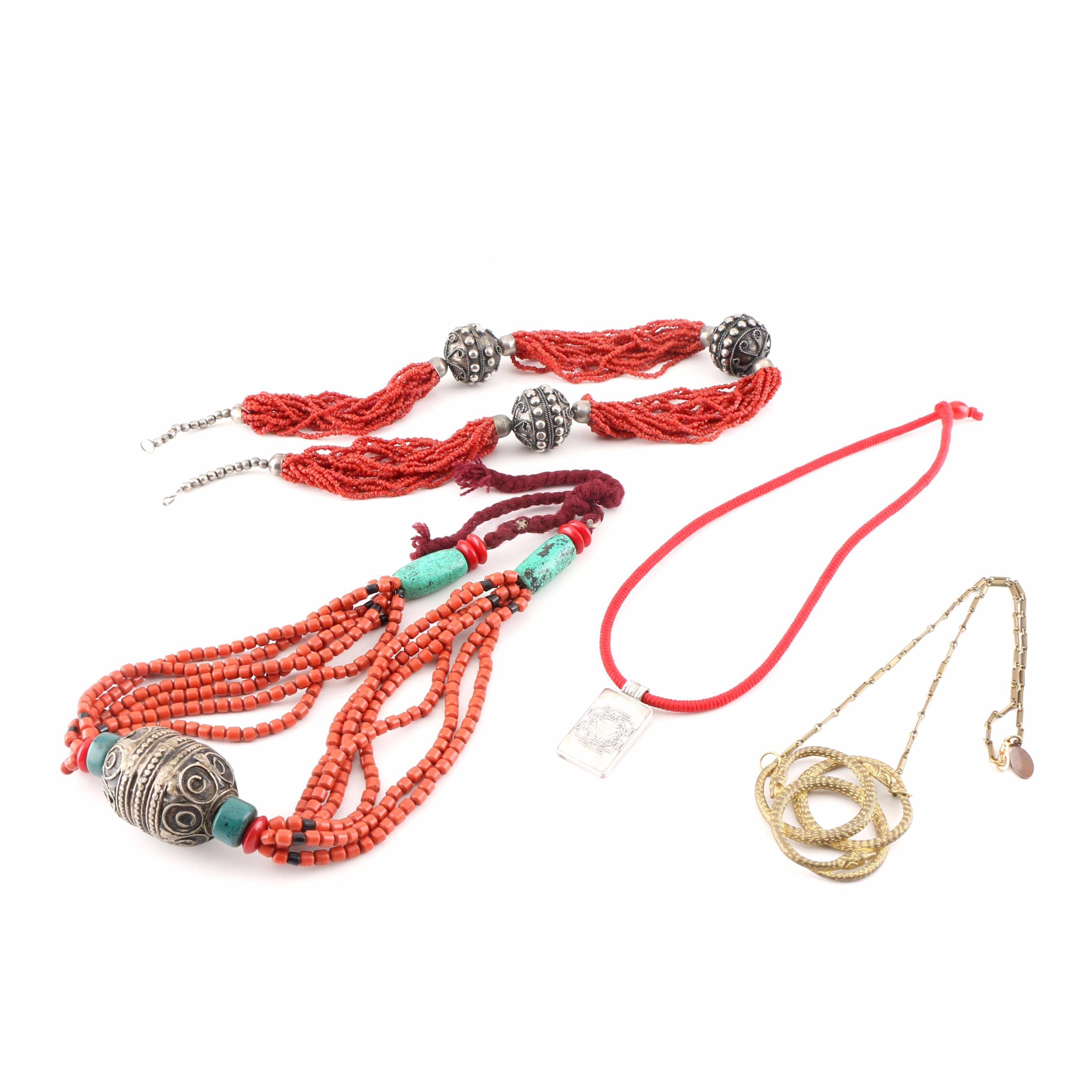 Selection of Eclectic Necklaces Including Fine Silver