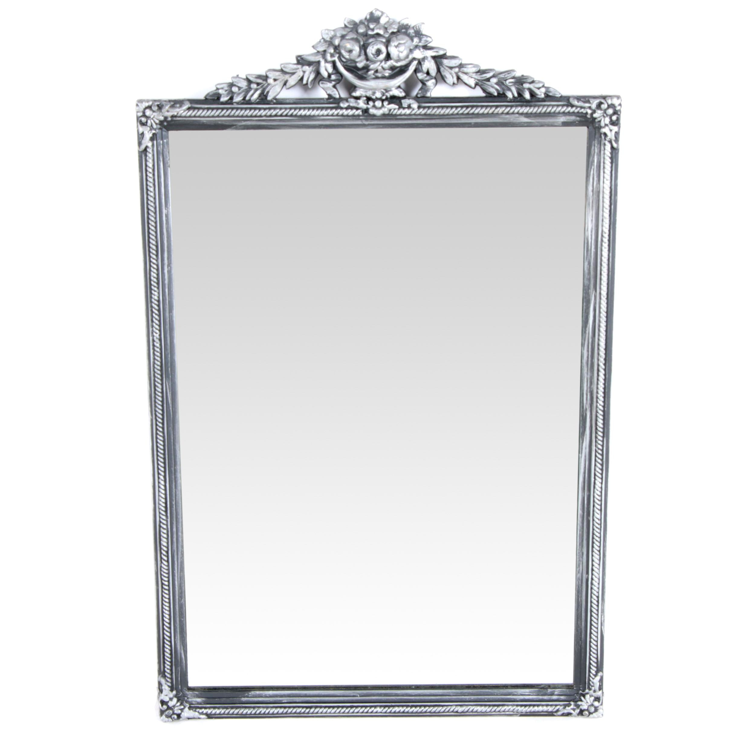 Black and Silver Tone Wall Mirror
