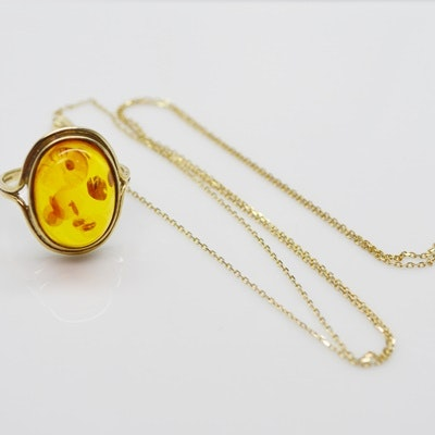 14K Yellow Gold Necklace and 8K Yellow Gold Amber Ring